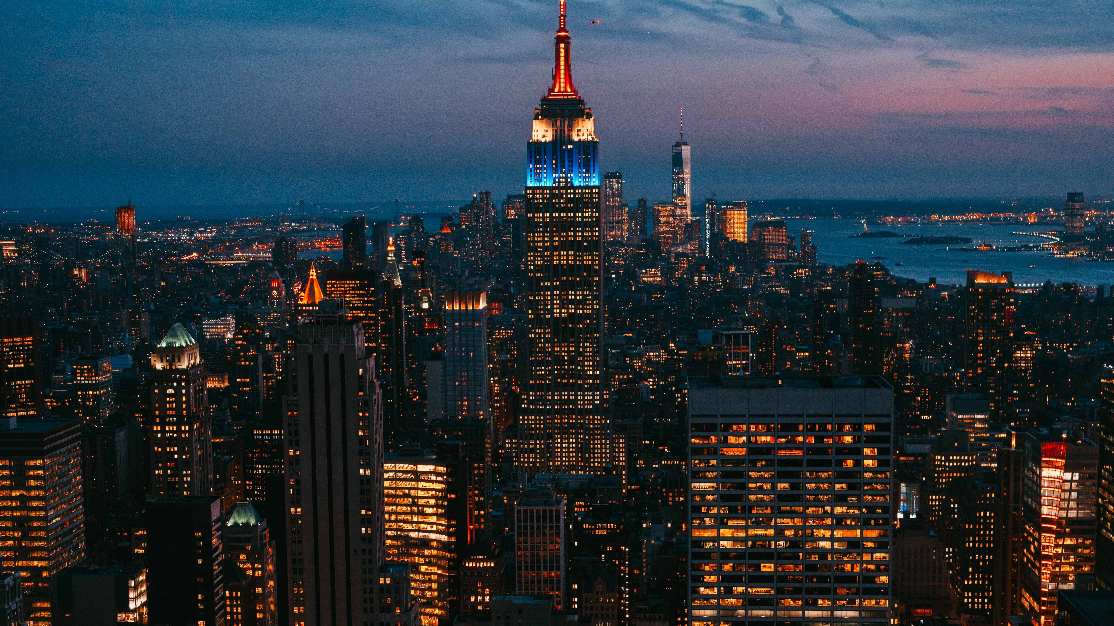 Wallpaper 4k Night City City Lights Skyscraper New York Metropolis Top View Usa 4k City Lights Night City Skyscraper