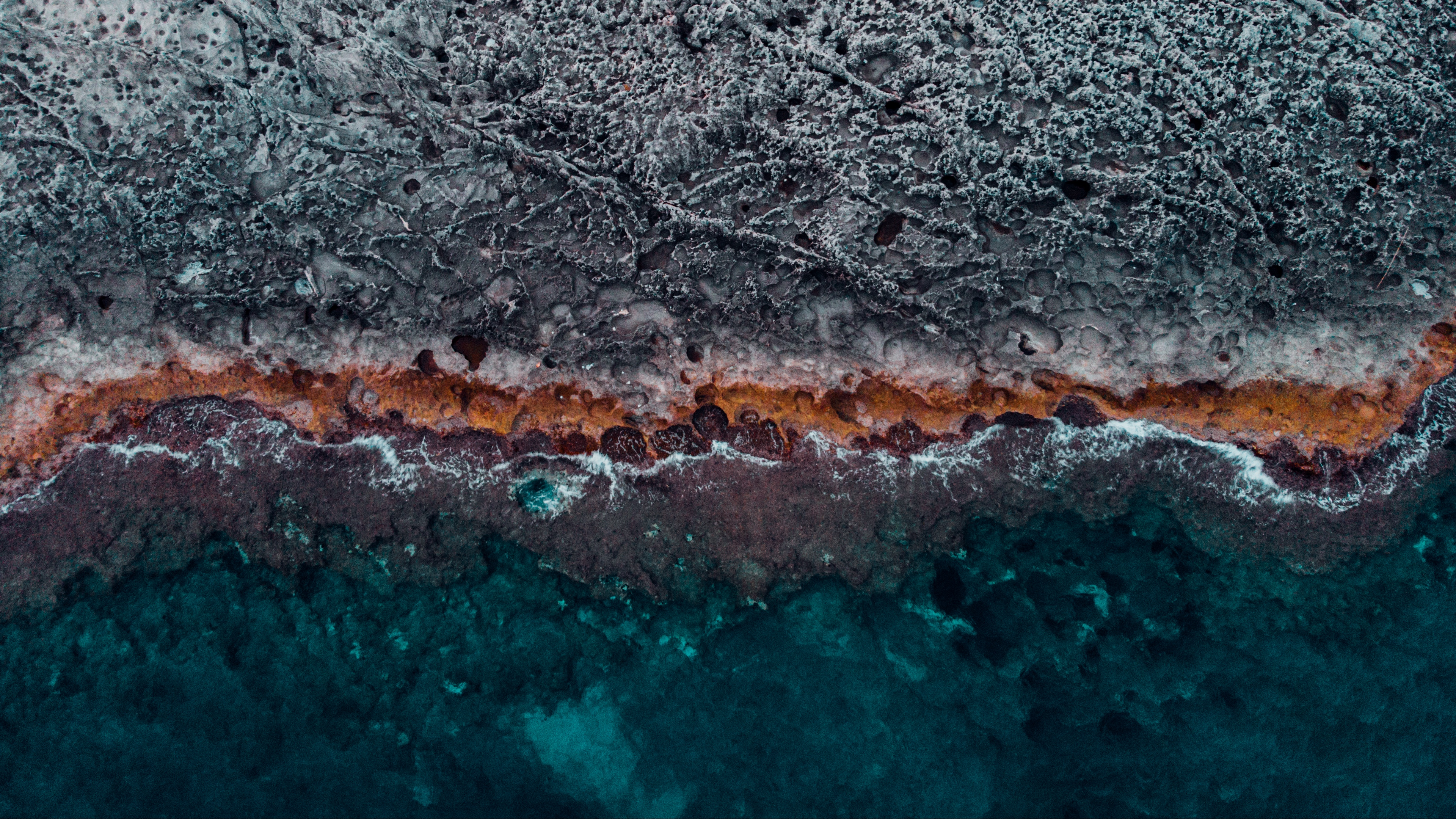 ocean coast aerial view water stones surface ribbed 4k 1541113732 - ocean, coast, aerial view, water, stones, surface, ribbed 4k - Ocean, Coast, aerial view