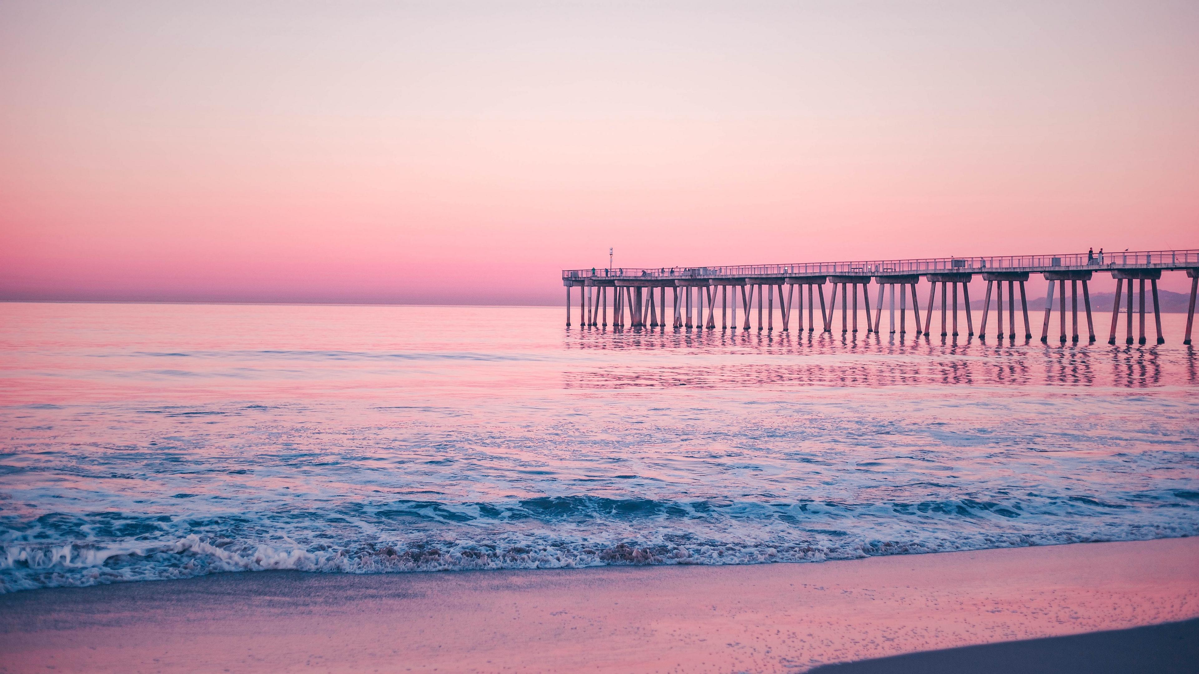 pier sea surf pink 4k 1541114647 - pier, sea, surf, pink 4k - surf, Sea, pier