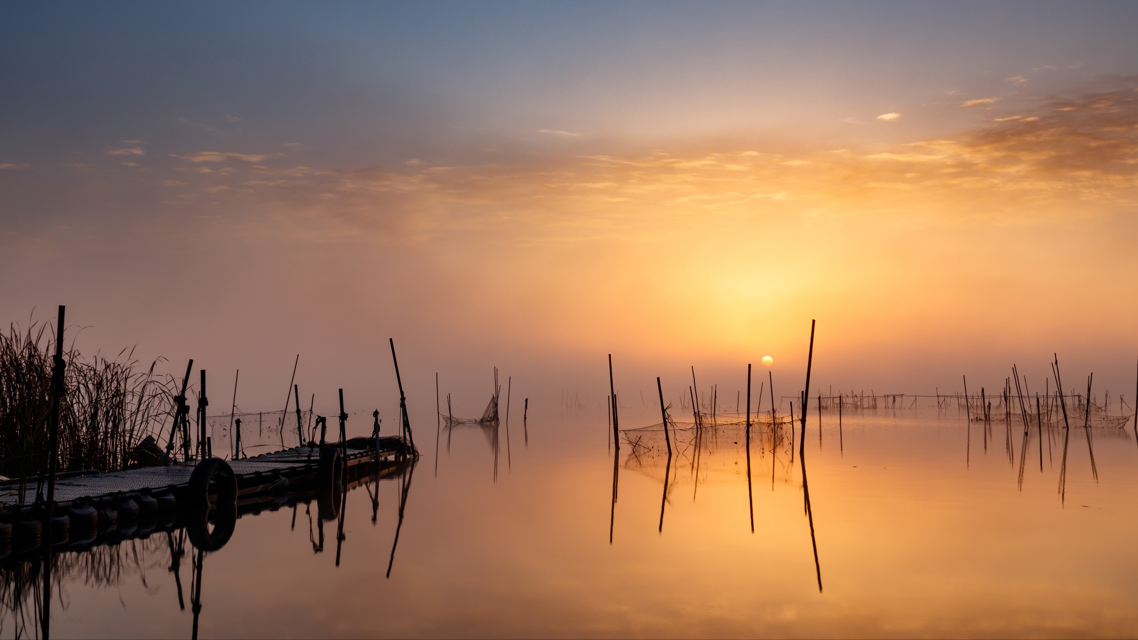 pier sunset lake fishing nets 4k 1541117189 - pier, sunset, lake, fishing nets 4k - sunset, pier, Lake
