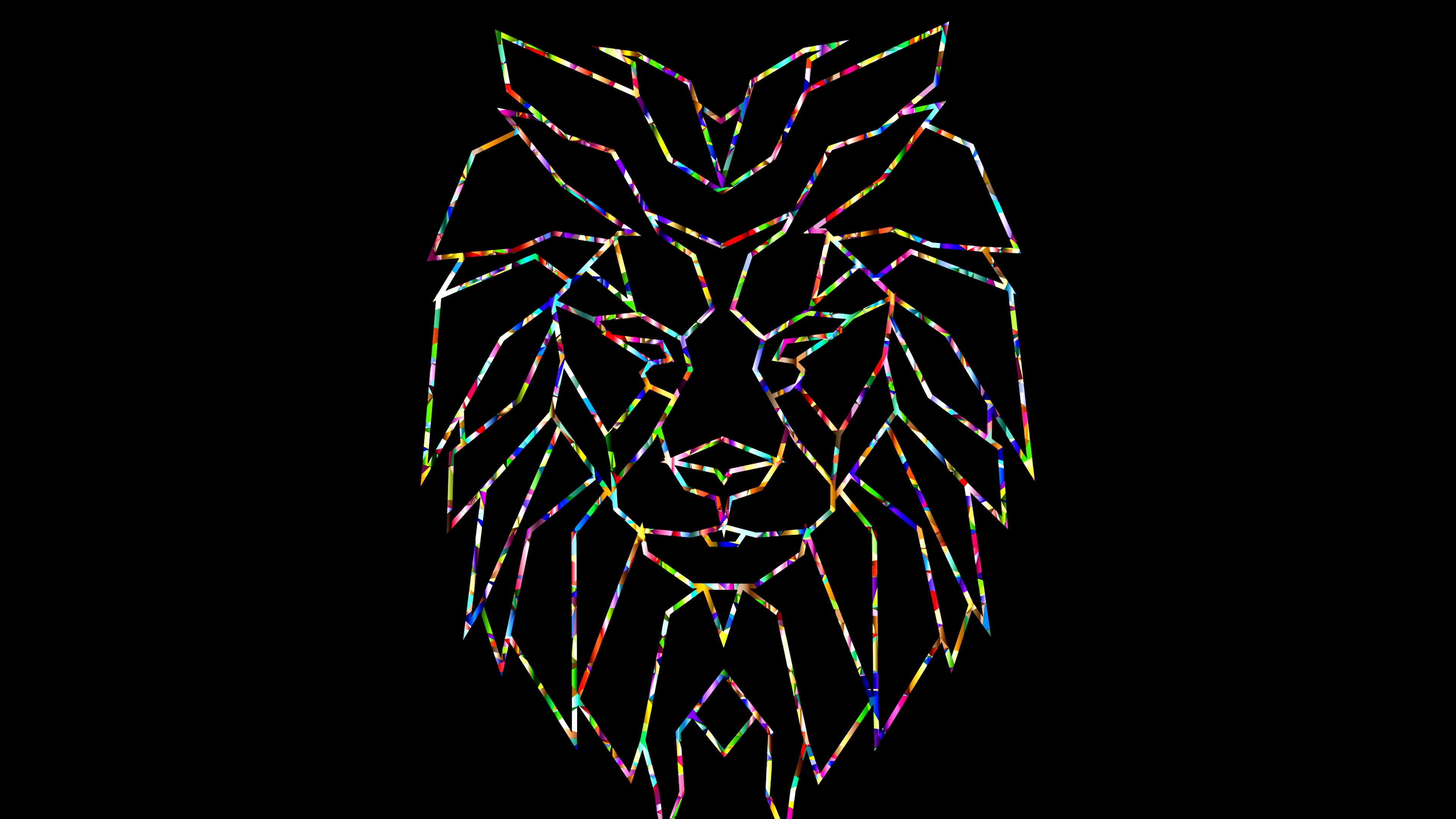 polygon lion colorful black 4k 1541971213 - polygon, lion, colorful, black 4k - polygon, Lion, Colorful