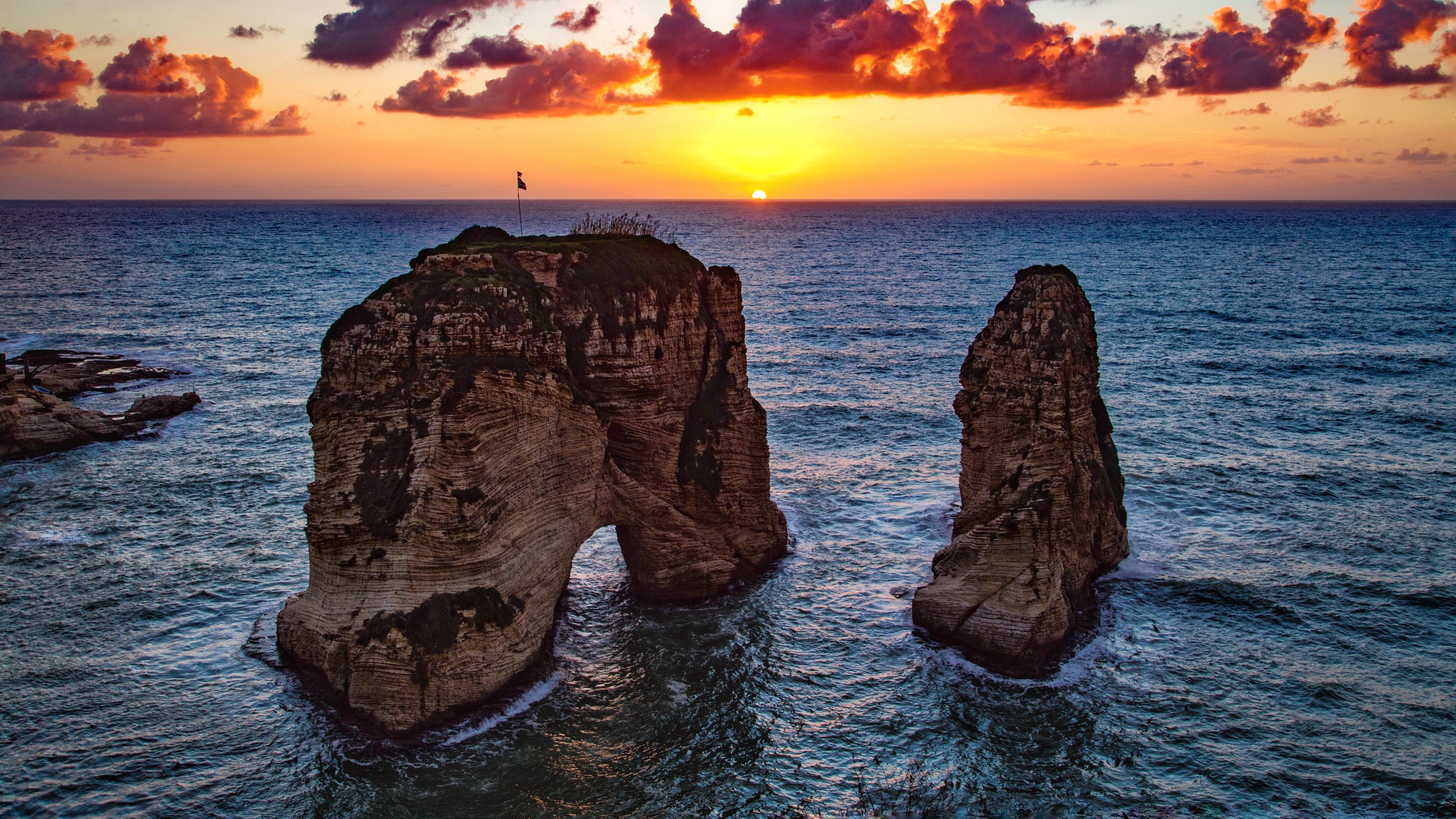 raouche rocks beirut lebanon sea sunset 4k 1541117831 - raouche rocks, beirut, lebanon, sea, sunset 4k - raouche rocks, lebanon, beirut