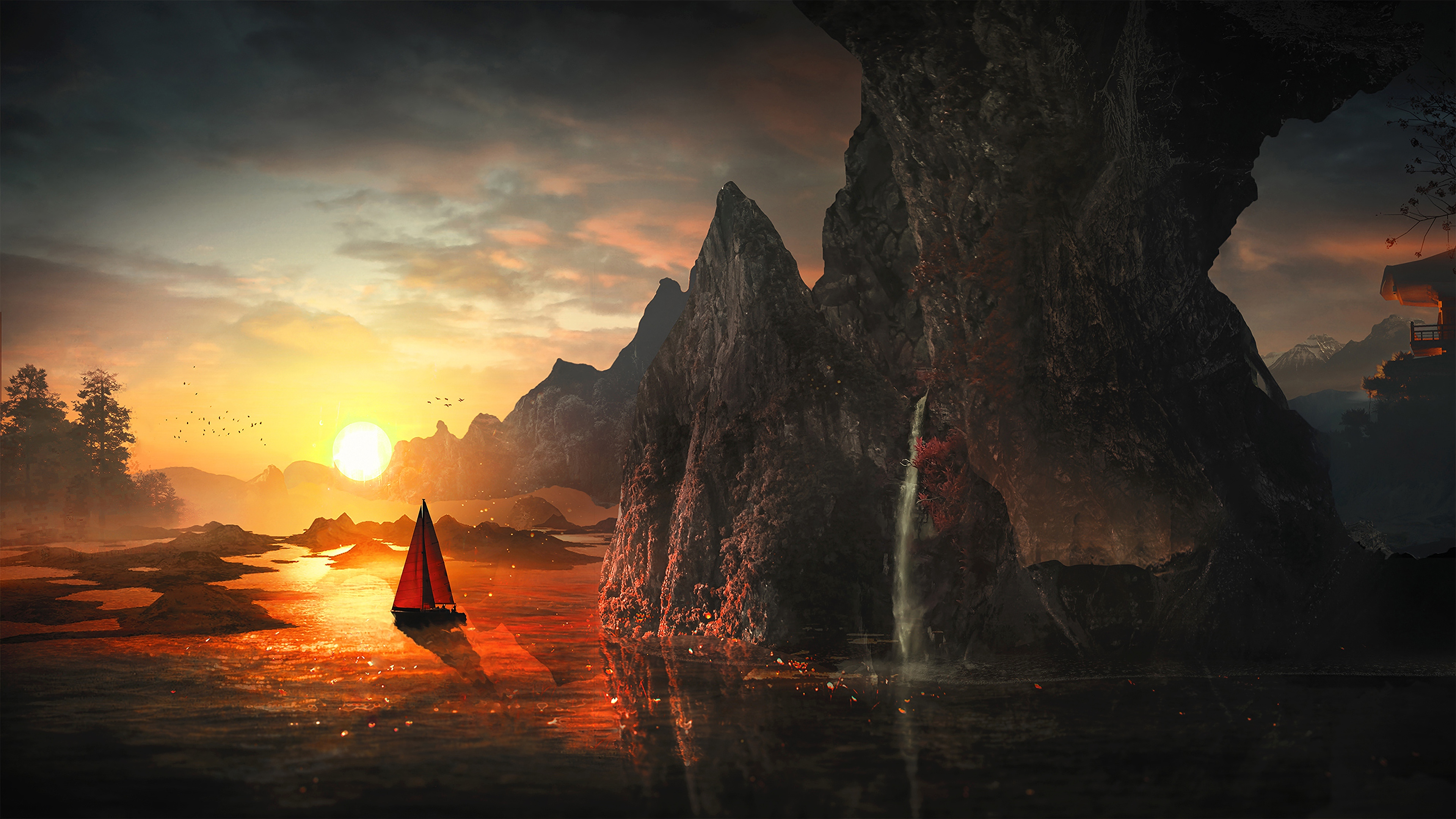 sail sunset bay art 4k 1541971373 - sail, sunset, bay, art 4k - sunset, Sail, Bay