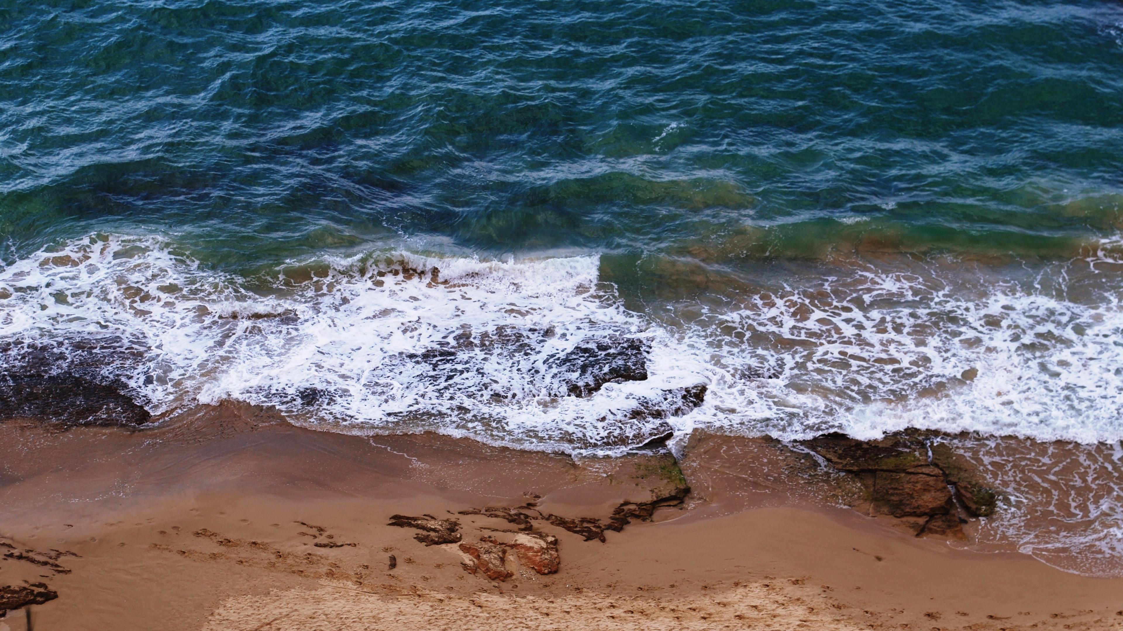 sea beach footprints 4k 1541114421 - sea, beach, footprints 4k - Sea, footprints, Beach