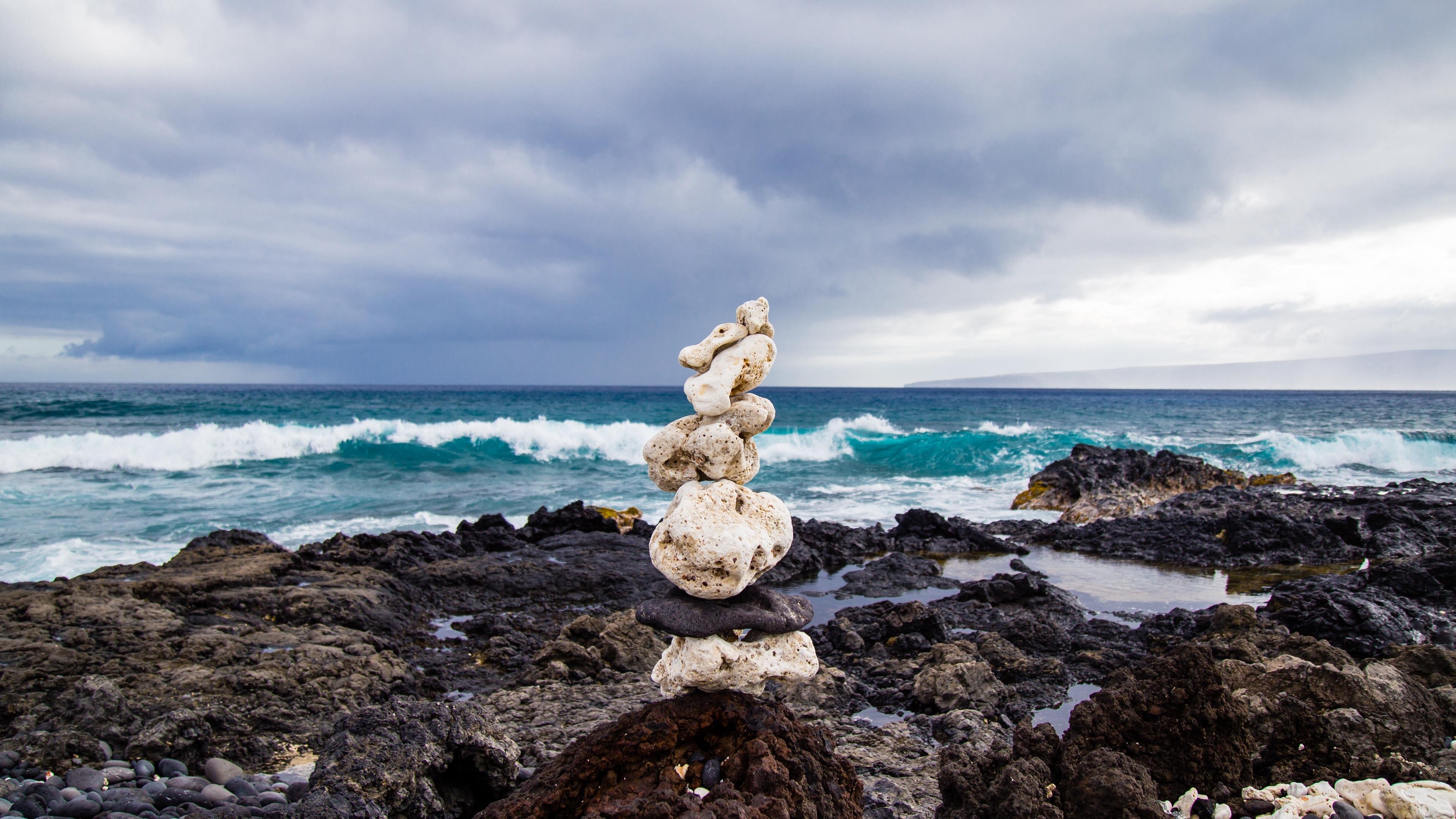 sea beach stones 4k 1541117349 - sea, beach, stones 4k - Stones, Sea, Beach