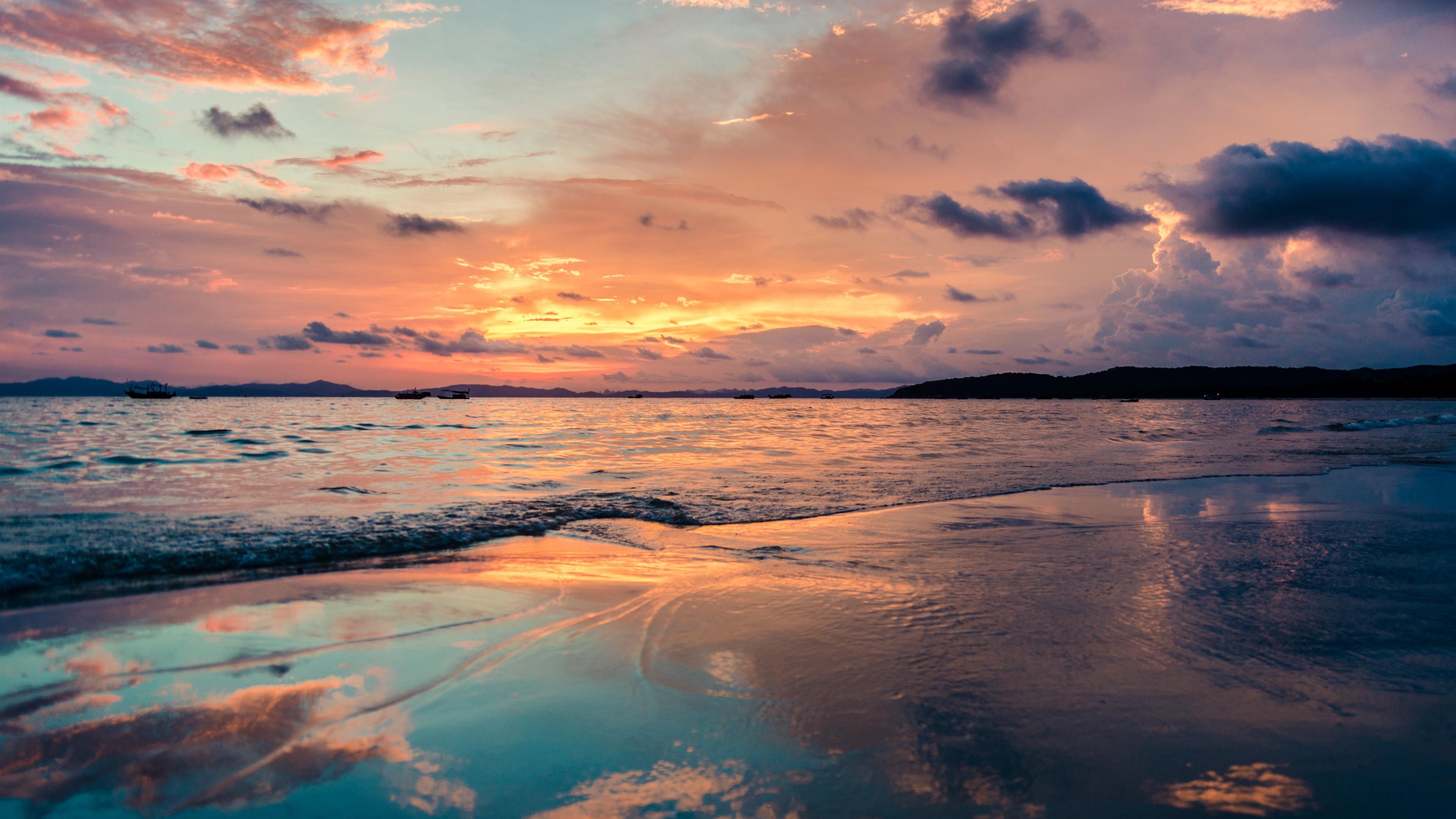 Wallpaper 4k Sea Beach Sunset 4k Beach Sea Sunset