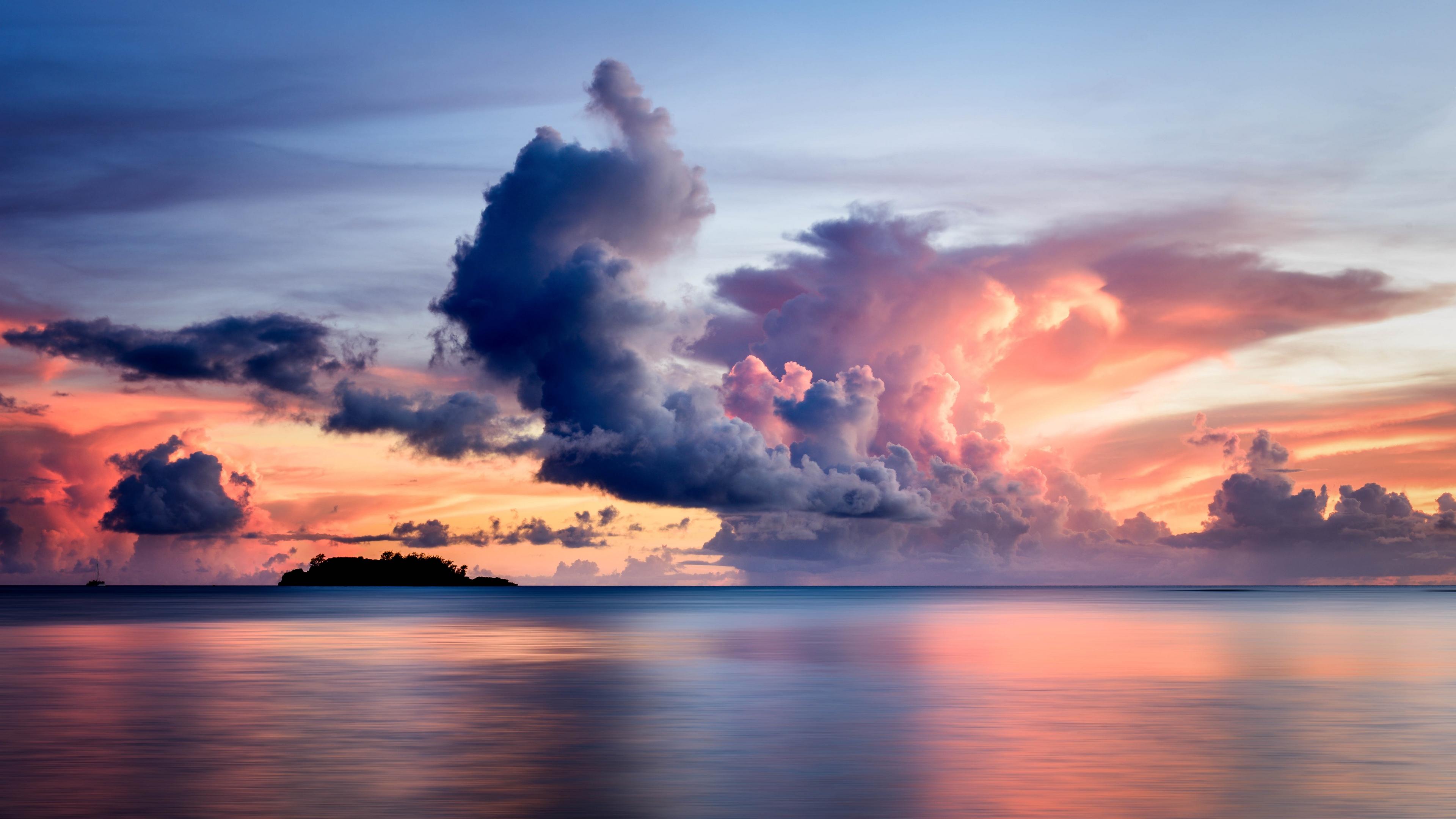 sea clouds horizon island sky sunset 4k 1541117907 - sea, clouds, horizon, island, sky, sunset 4k - Sea, Horizon, Clouds