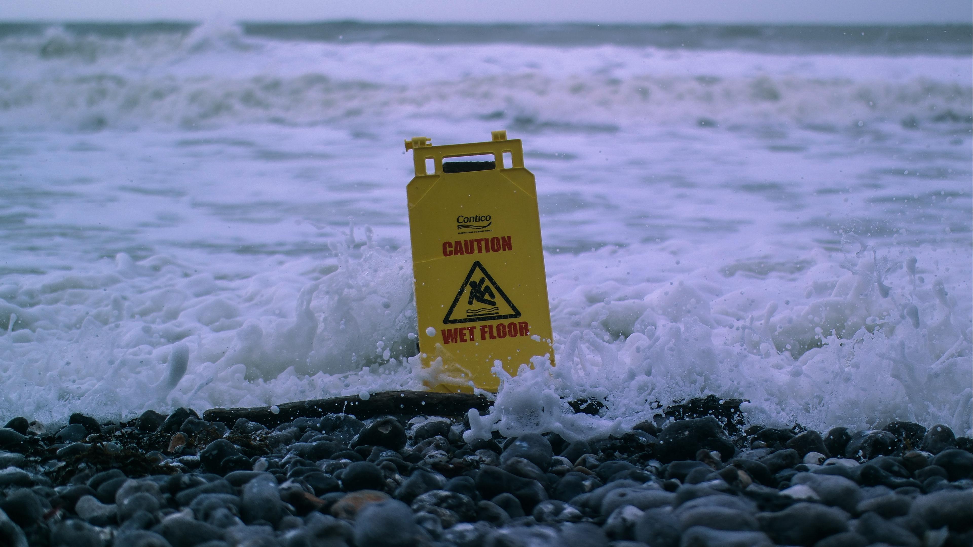 sea foam sign stones caution 4k 1541116667 - sea, foam, sign, stones, caution 4k - sign, Sea, foam