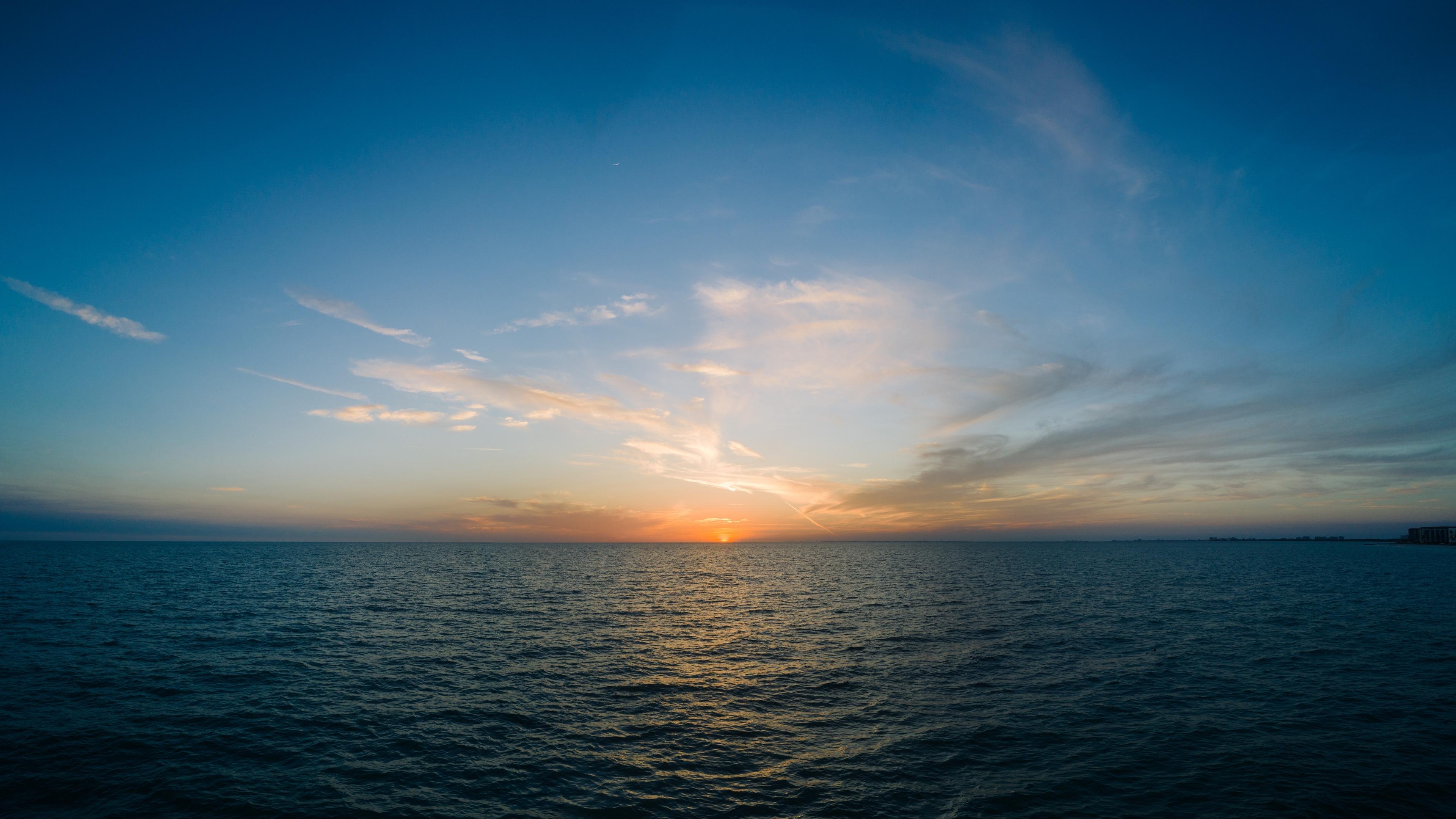 sea horizon sunset clouds sky 4k 1541116681 - sea, horizon, sunset, clouds, sky 4k - sunset, Sea, Horizon