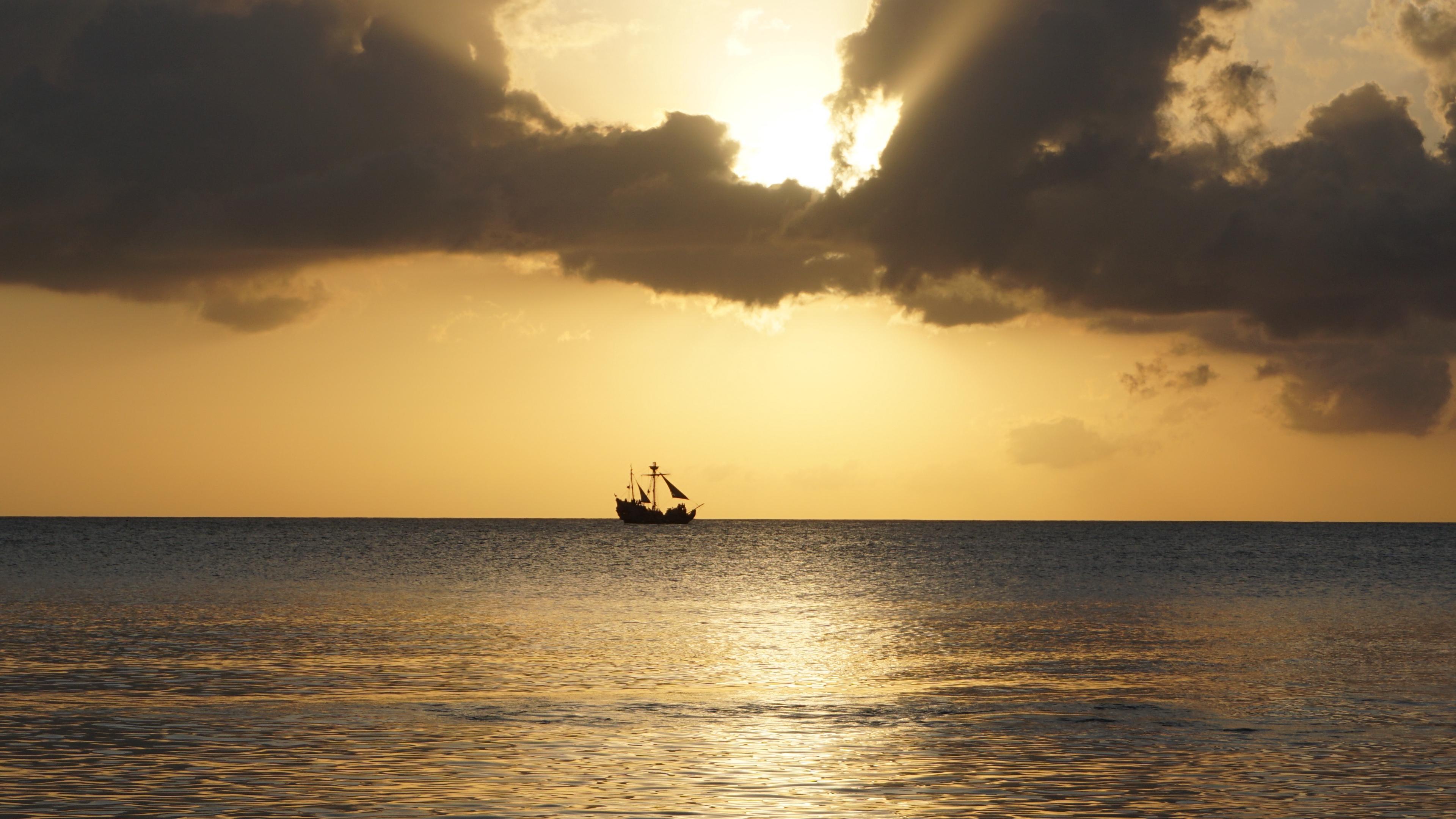 sea ship horizon sunset 4k 1541114054 - sea, ship, horizon, sunset 4k - Ship, Sea, Horizon