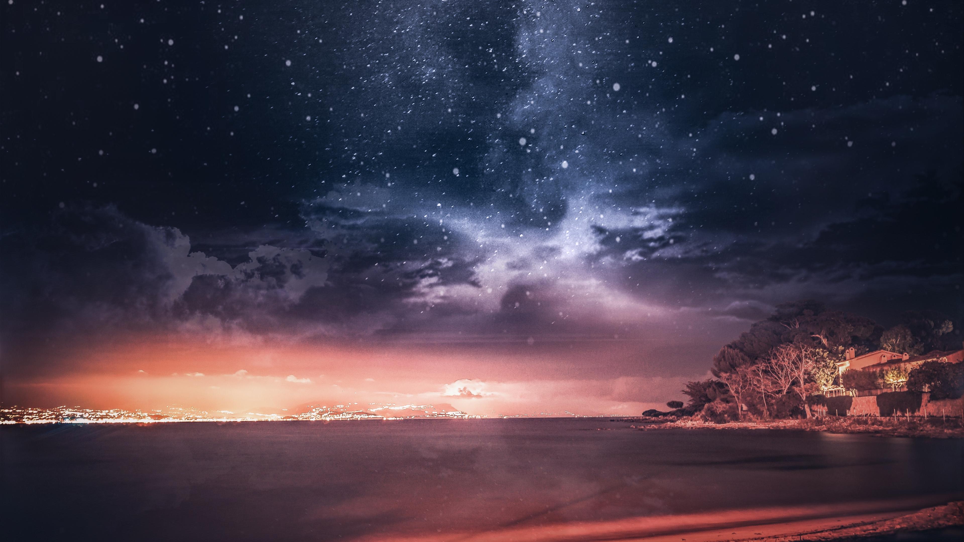 sea sunset starry sky horizon france 4k 1541117450 - sea, sunset, starry sky, horizon, france 4k - sunset, starry sky, Sea