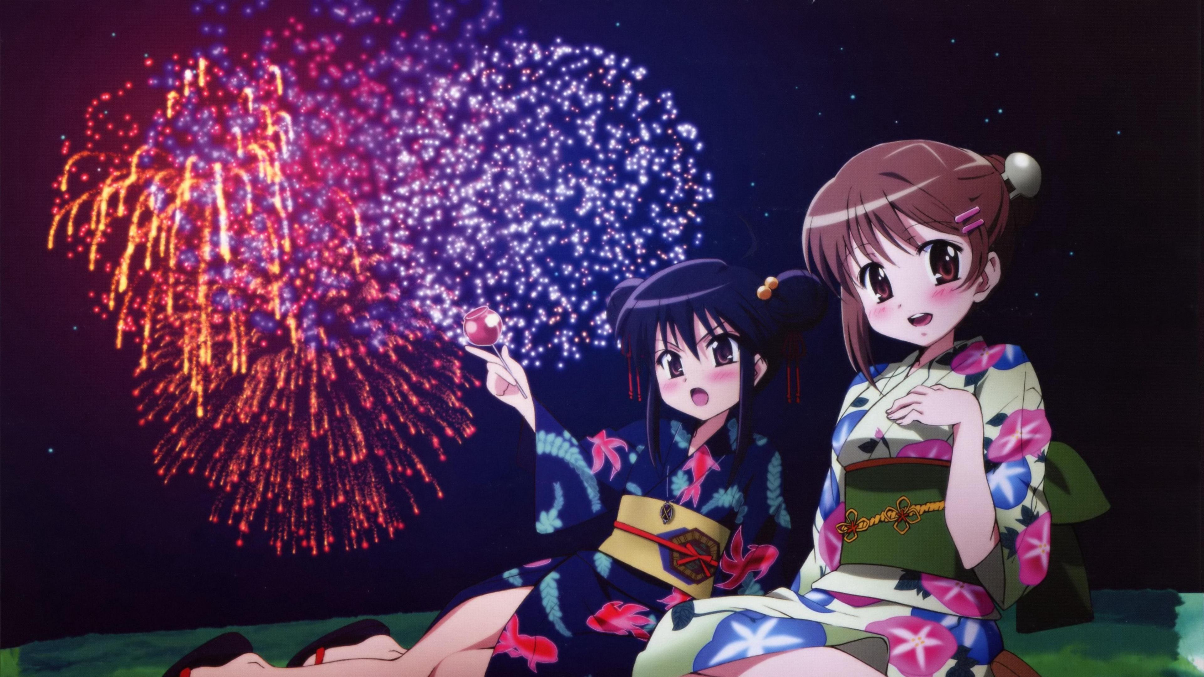 shakugan no shana girls fireworks kimono 4k 1541975605 - shakugan no shana, girls, fireworks, kimono 4k - shakugan no shana, Girls, Fireworks