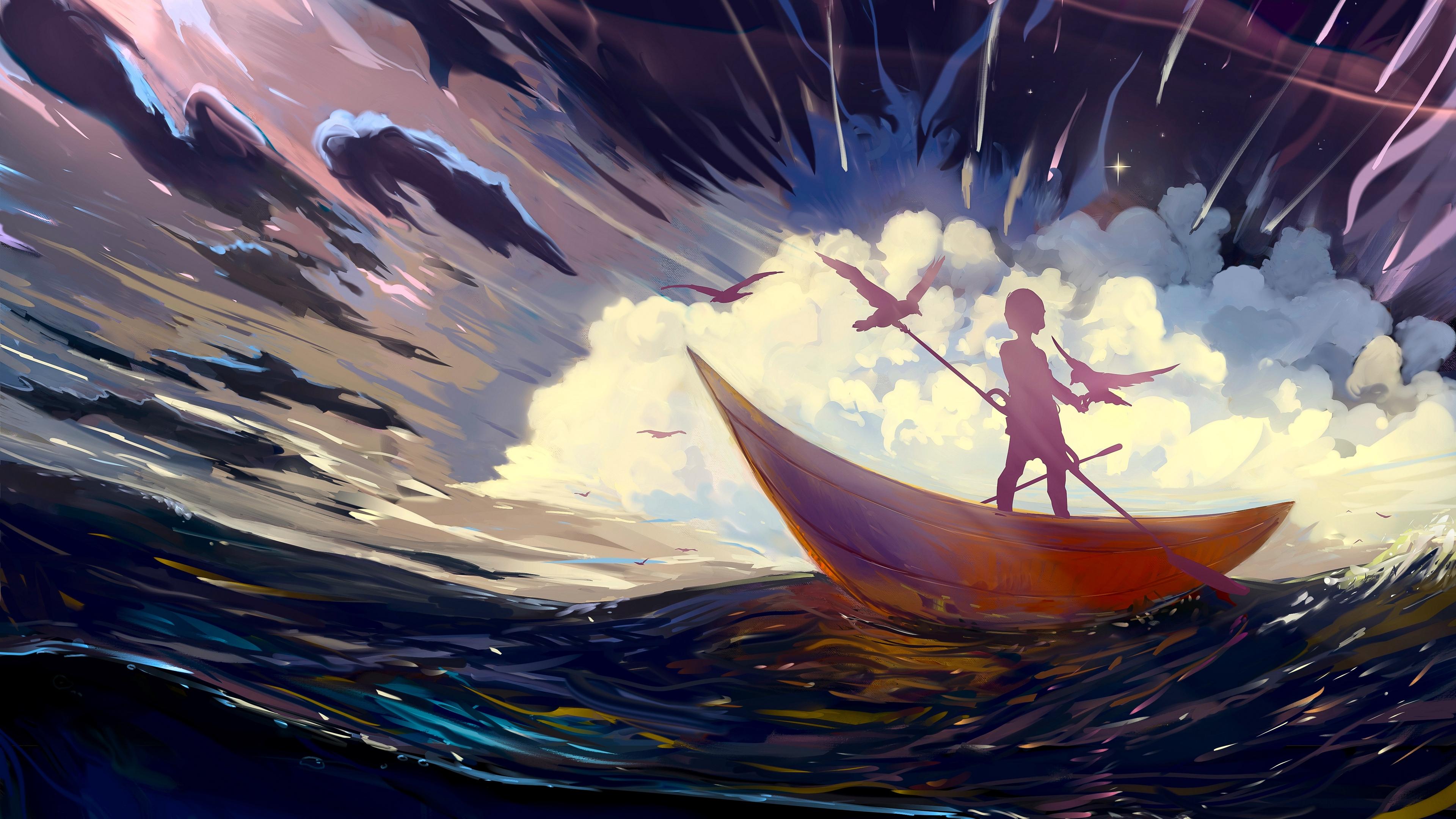 silhouette boat art storm birds lonely 4k 1541971533 - silhouette, boat, art, storm, birds, lonely 4k - Silhouette, Boat, art