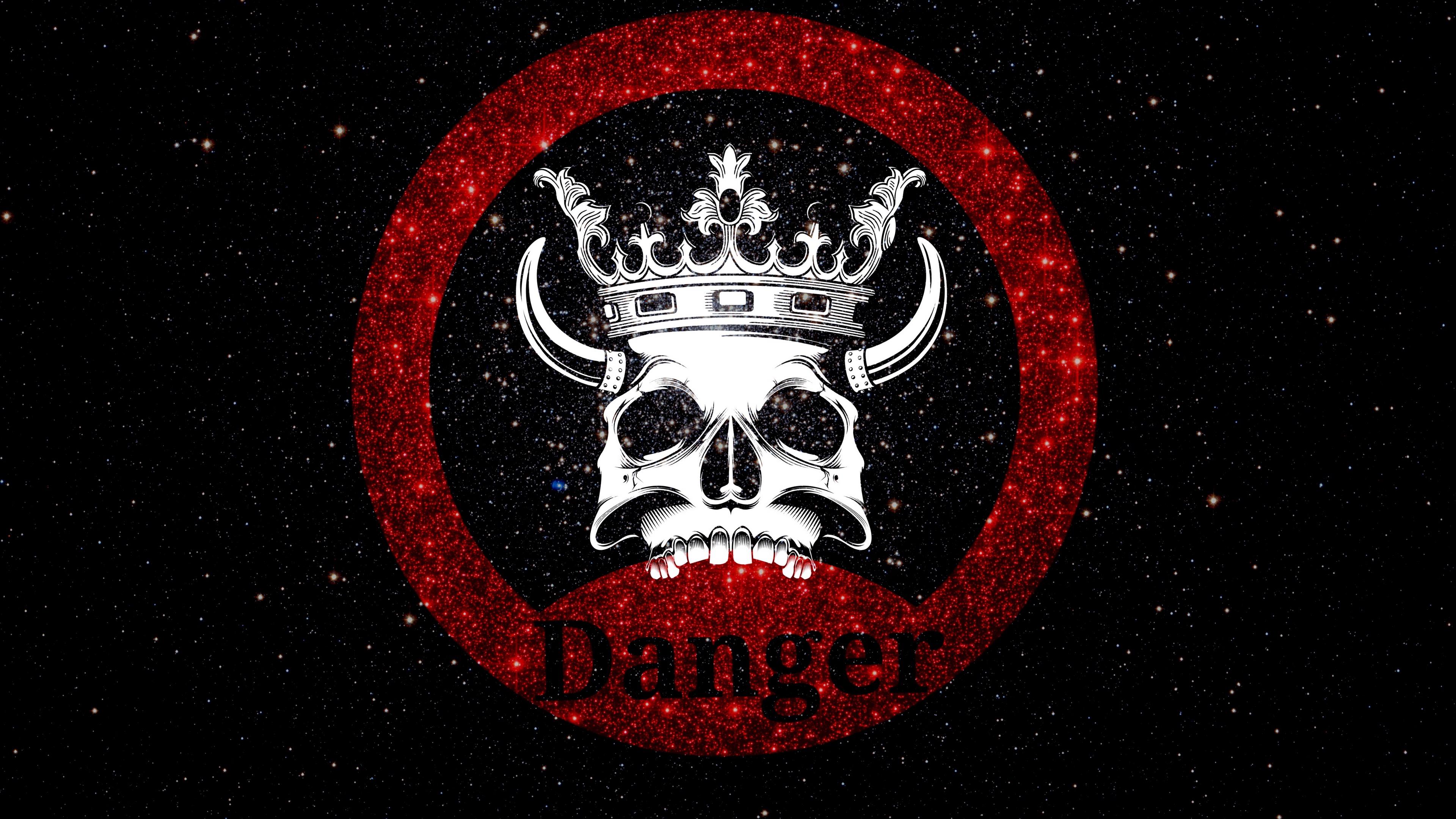 skull crown danger inscription shine 4k 1541971173 - skull, crown, danger, inscription, shine 4k - Skull, danger, Crown