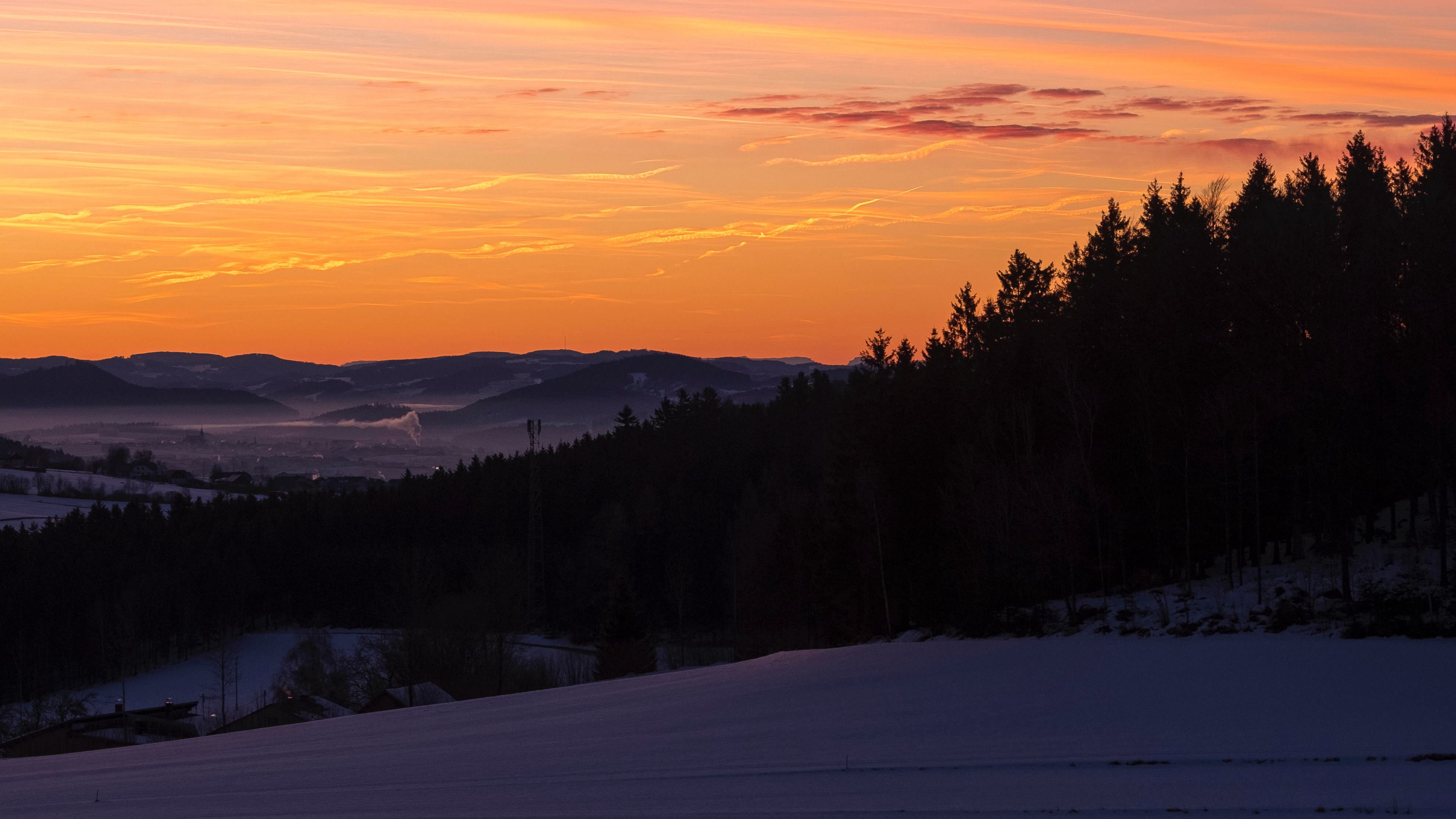 sky trees dawn snow clouds 4k 1541114153 - sky, trees, dawn, snow, clouds 4k - Trees, Sky, Dawn