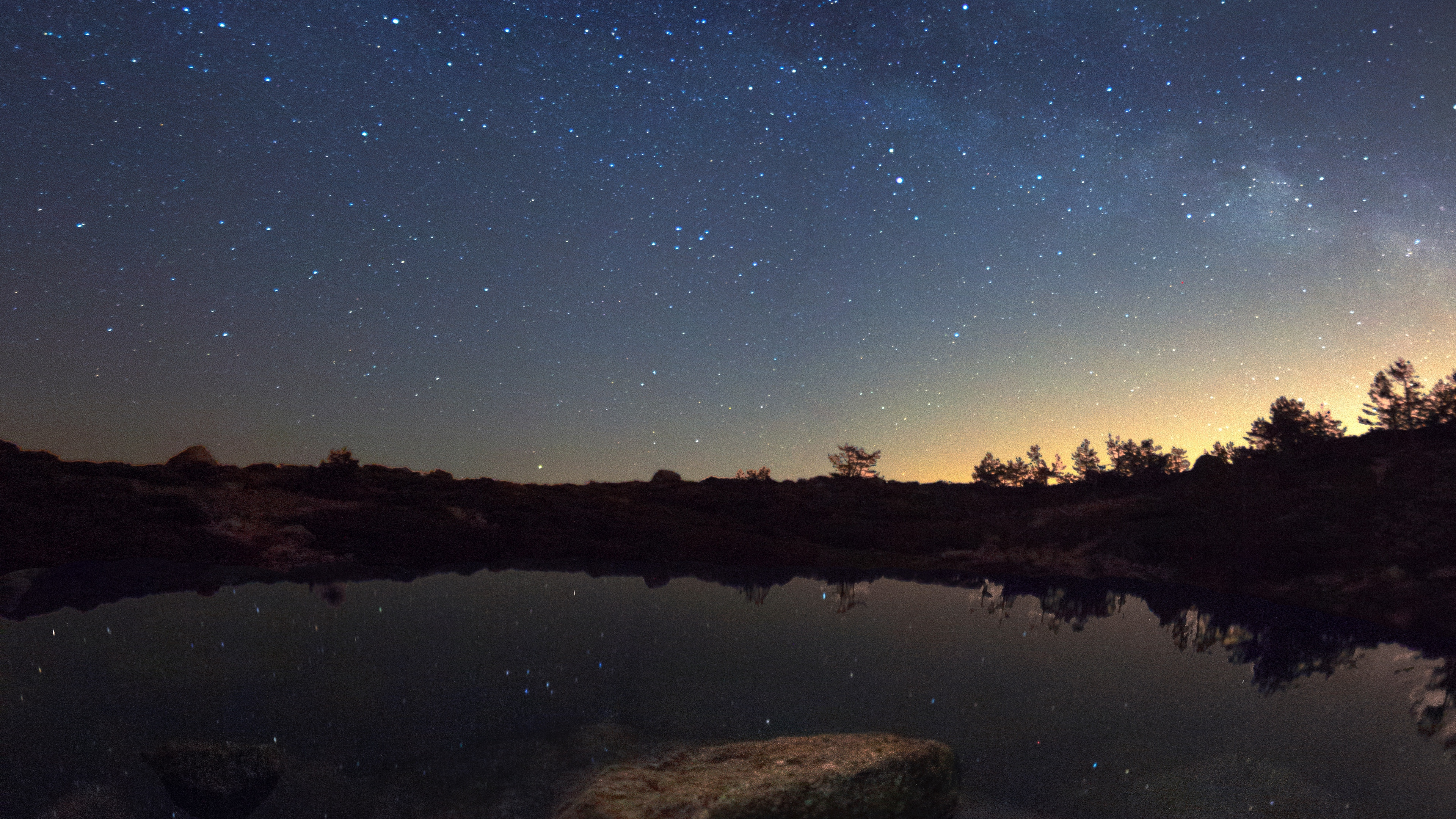 starry sky lake night horizon reflection 4k 1541113678 - starry sky, lake, night, horizon, reflection 4k - starry sky, Night, Lake