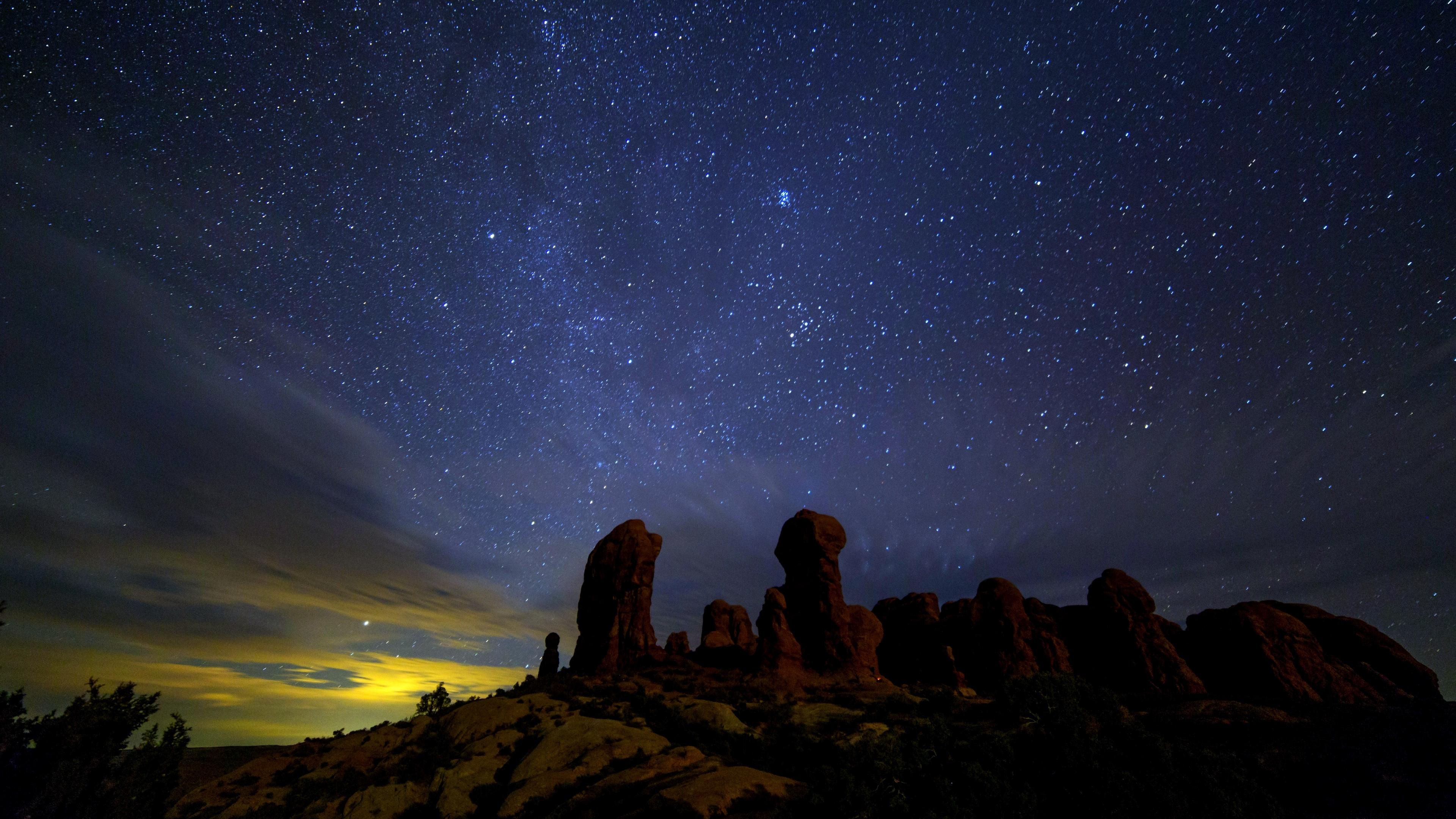 starry sky stars rocks night 4k 1541114509 - starry sky, stars, rocks, night 4k - Stars, starry sky, Rocks