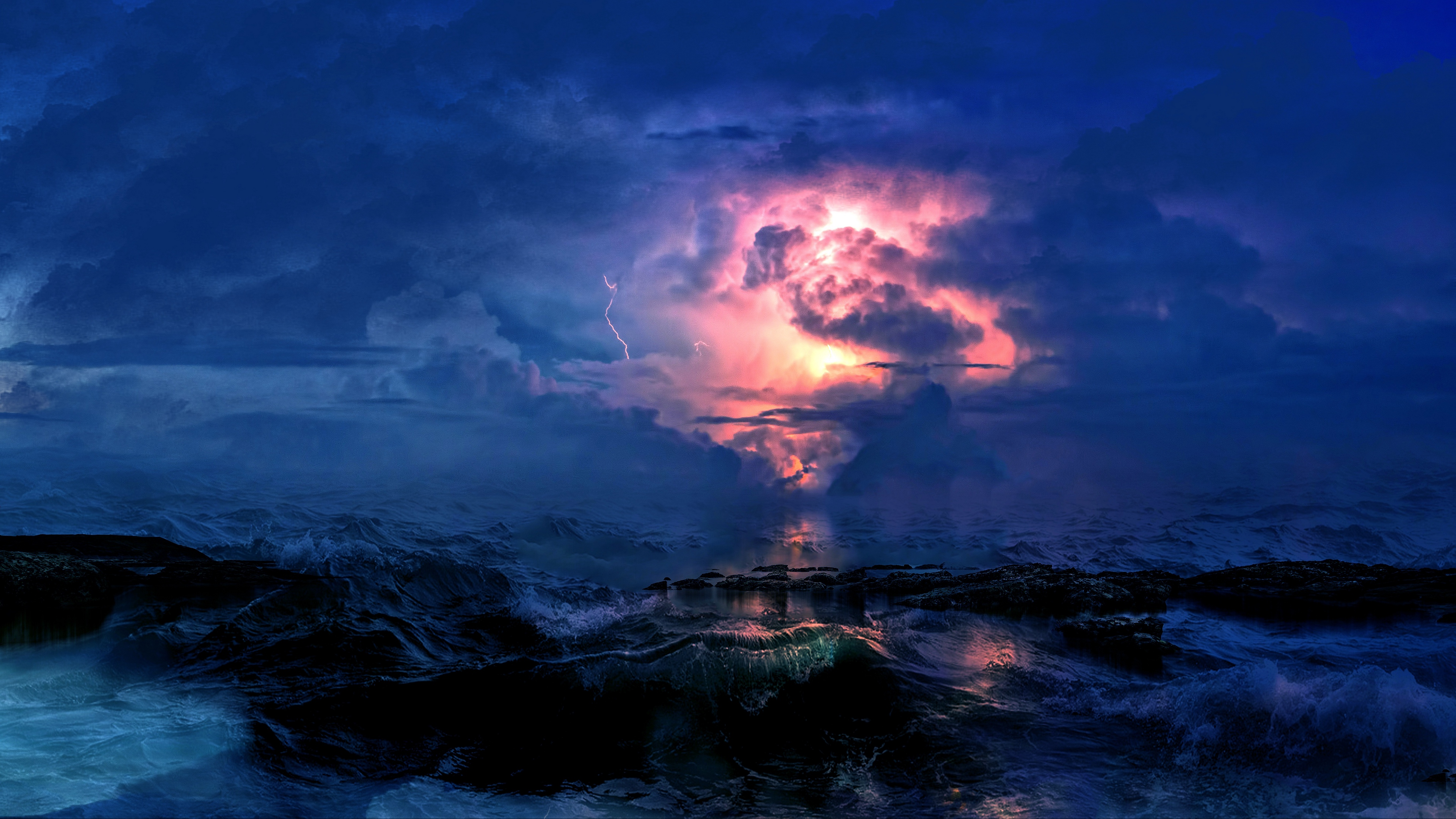 storm sea clouds lightning waves overcast 4k 1541113528 - storm, sea, clouds, lightning, waves, overcast 4k - Storm, Sea, Clouds