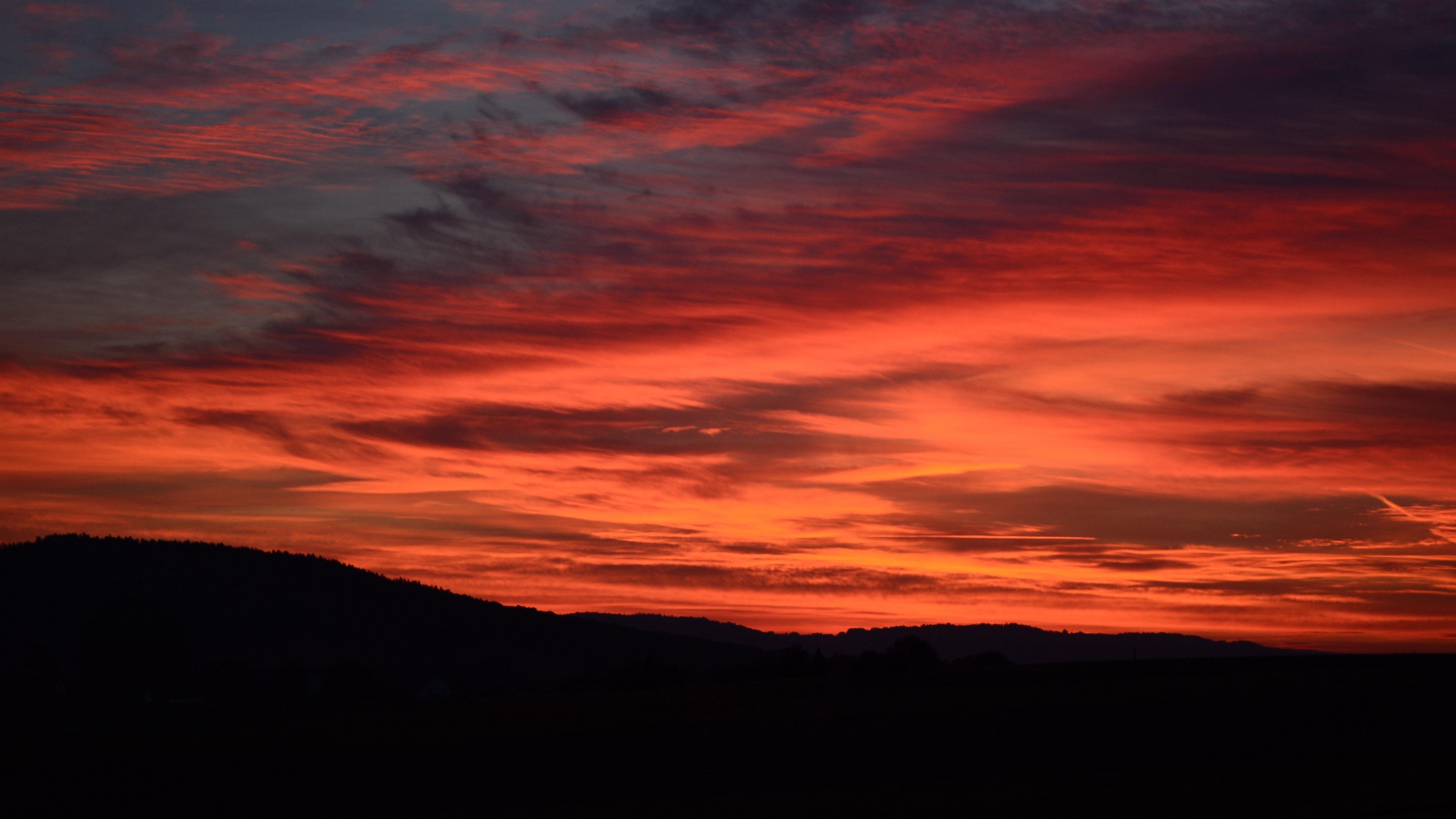 sunset horizon red clouds dark 4k 1541113728 - sunset, horizon, red, clouds, dark 4k - sunset, red, Horizon