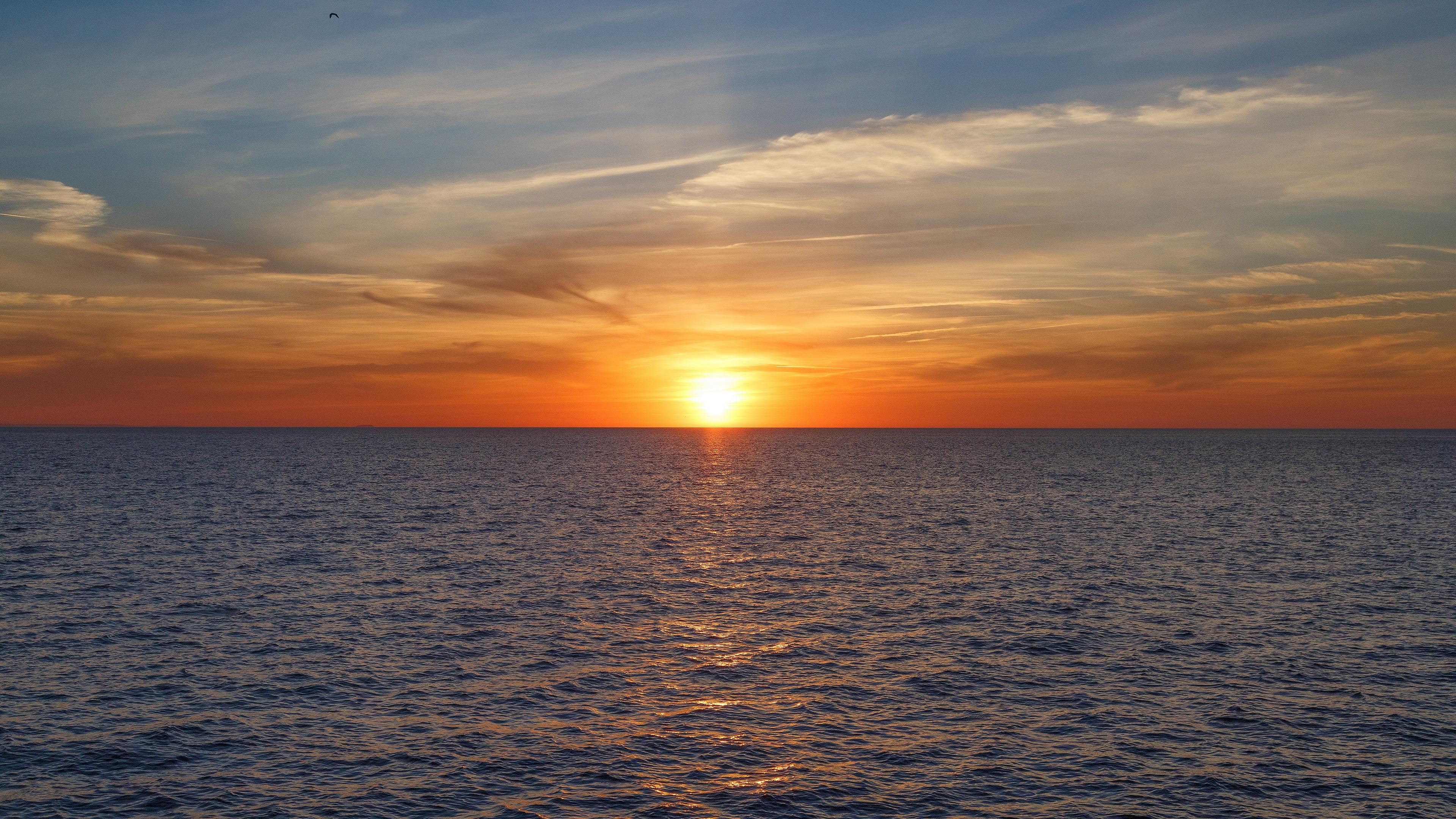sunset sea sky clouds 4k 1541115240 - sunset, sea, sky, clouds 4k - sunset, Sky, Sea