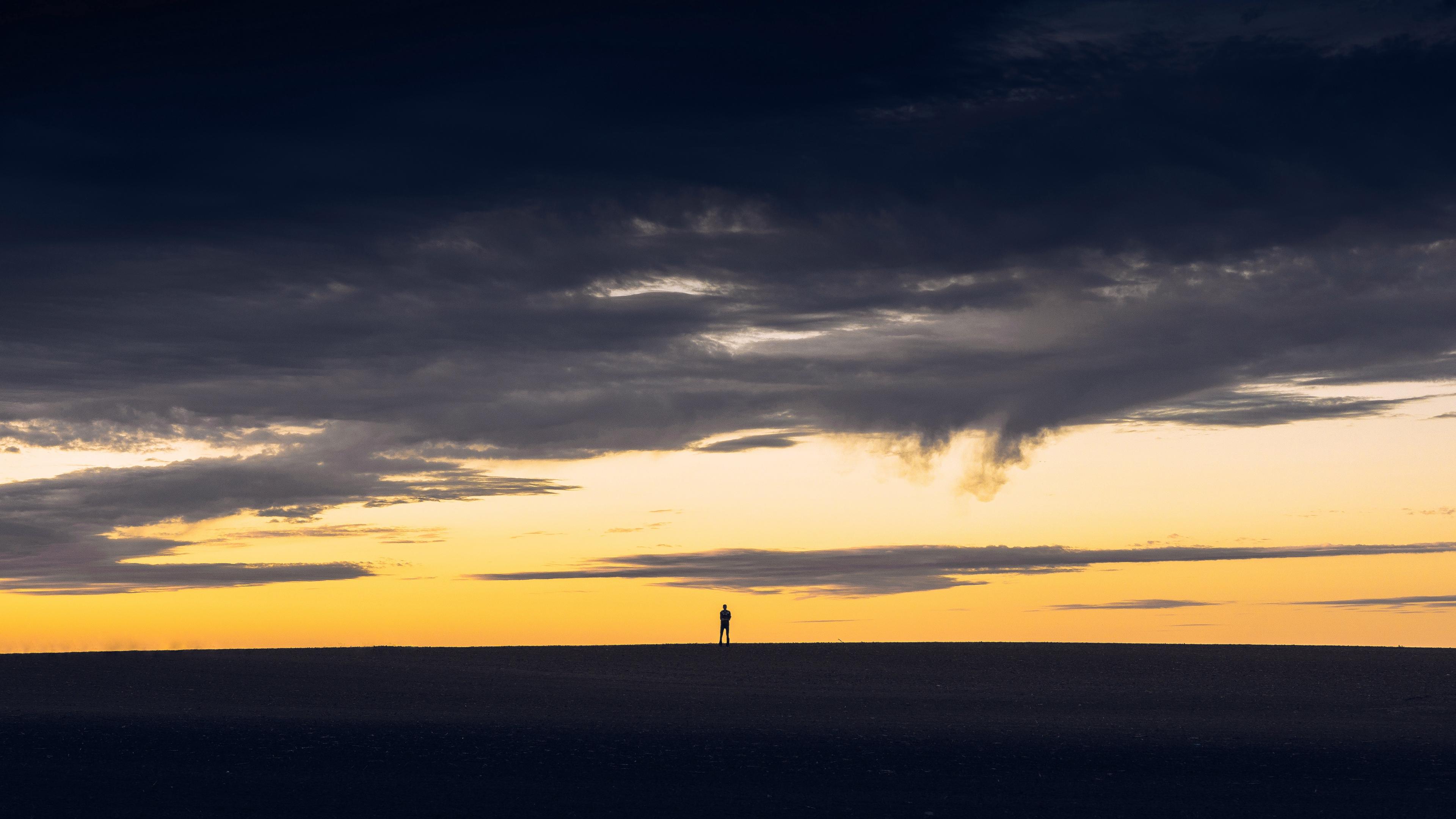 sunset silhouette sky man 4k 1541116453 - sunset, silhouette, sky, man 4k - sunset, Sky, Silhouette