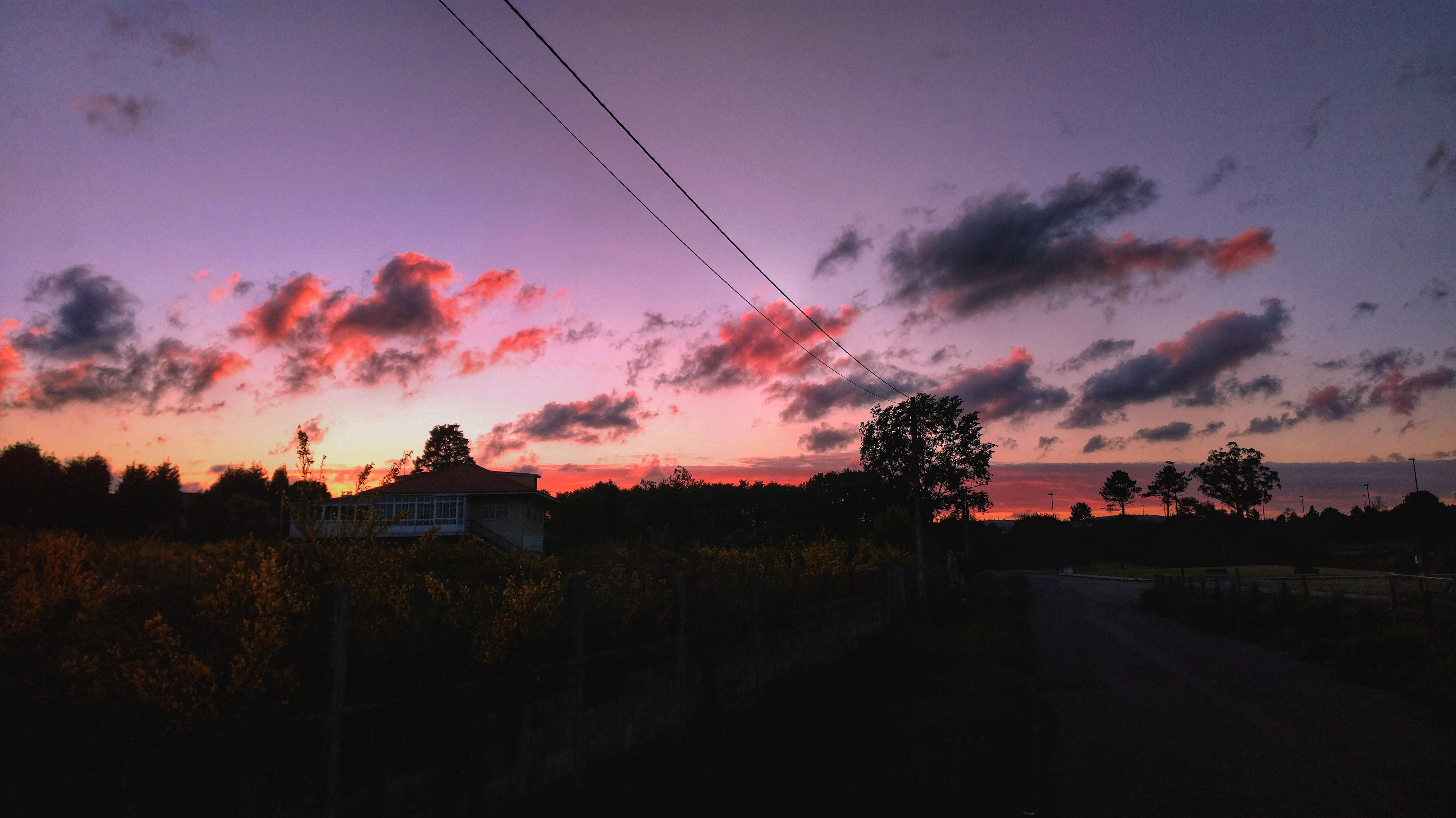 sunset sky road trees 4k 1541115007 - sunset, sky, road, trees 4k - sunset, Sky, Road