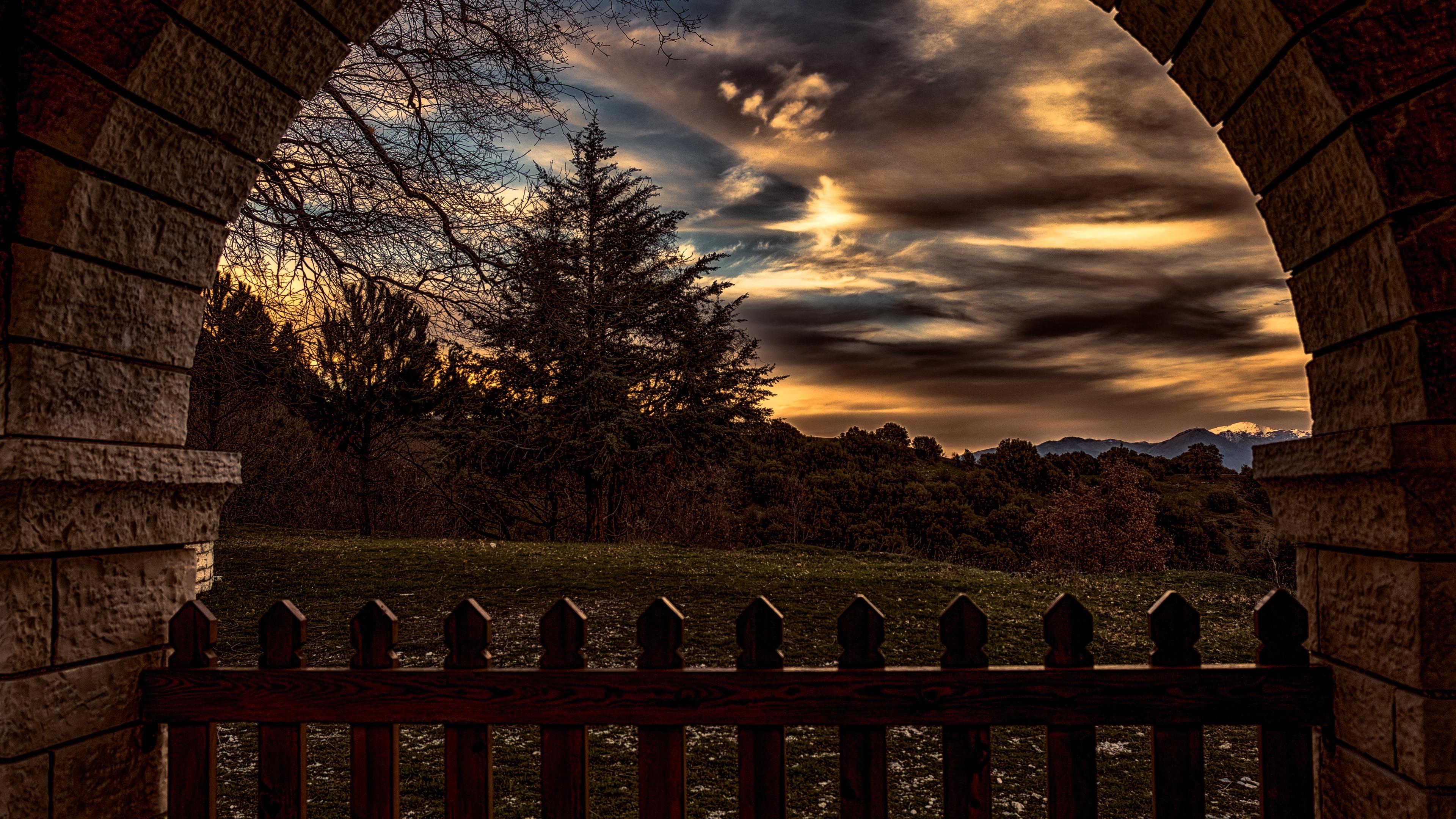sunset trees fence arch 4k 1541114236 - sunset, trees, fence, arch 4k - Trees, sunset, fence