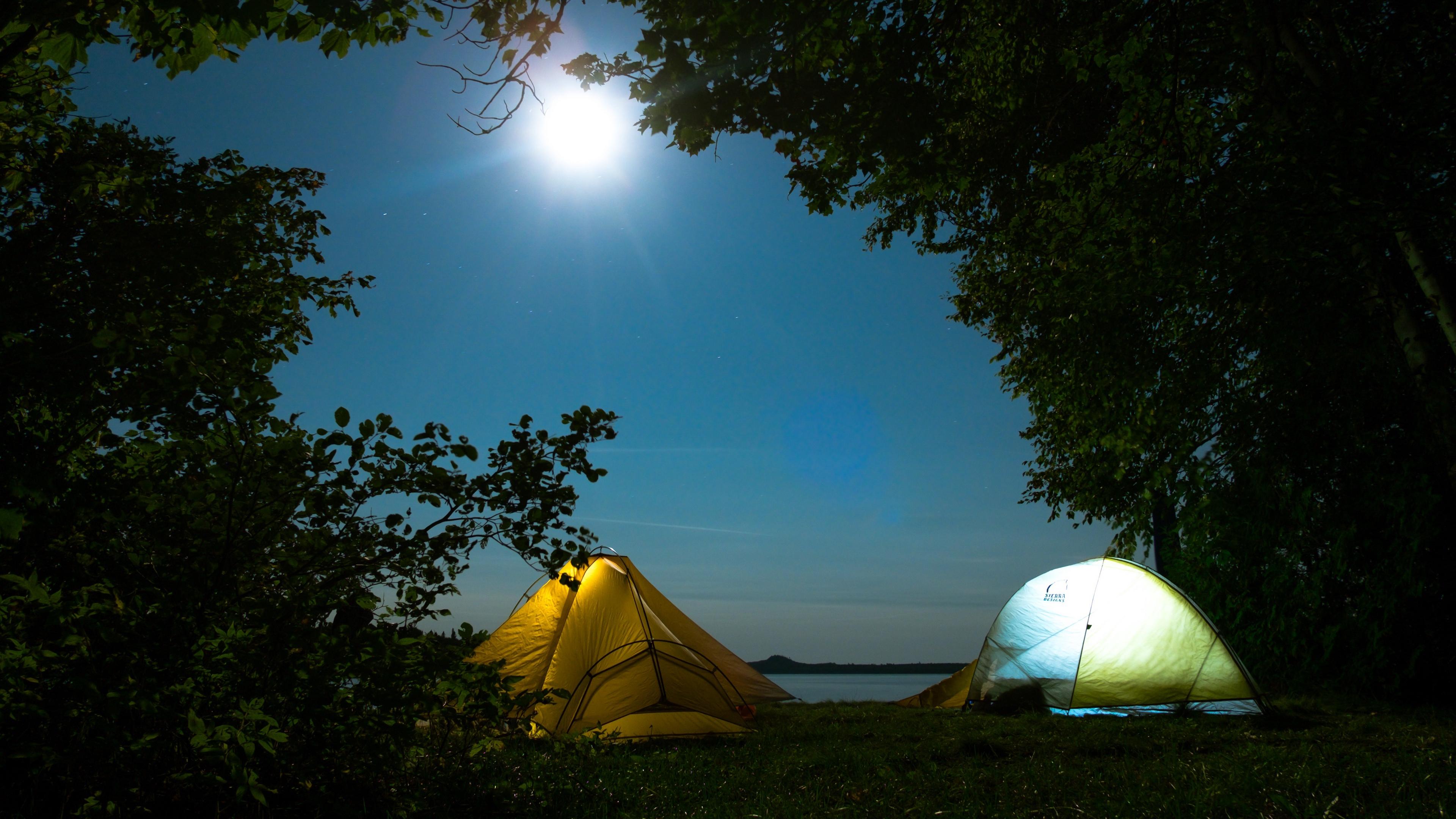 tents camping trees 4k 1541114033 - tents, camping, trees 4k - Trees, tents, Camping