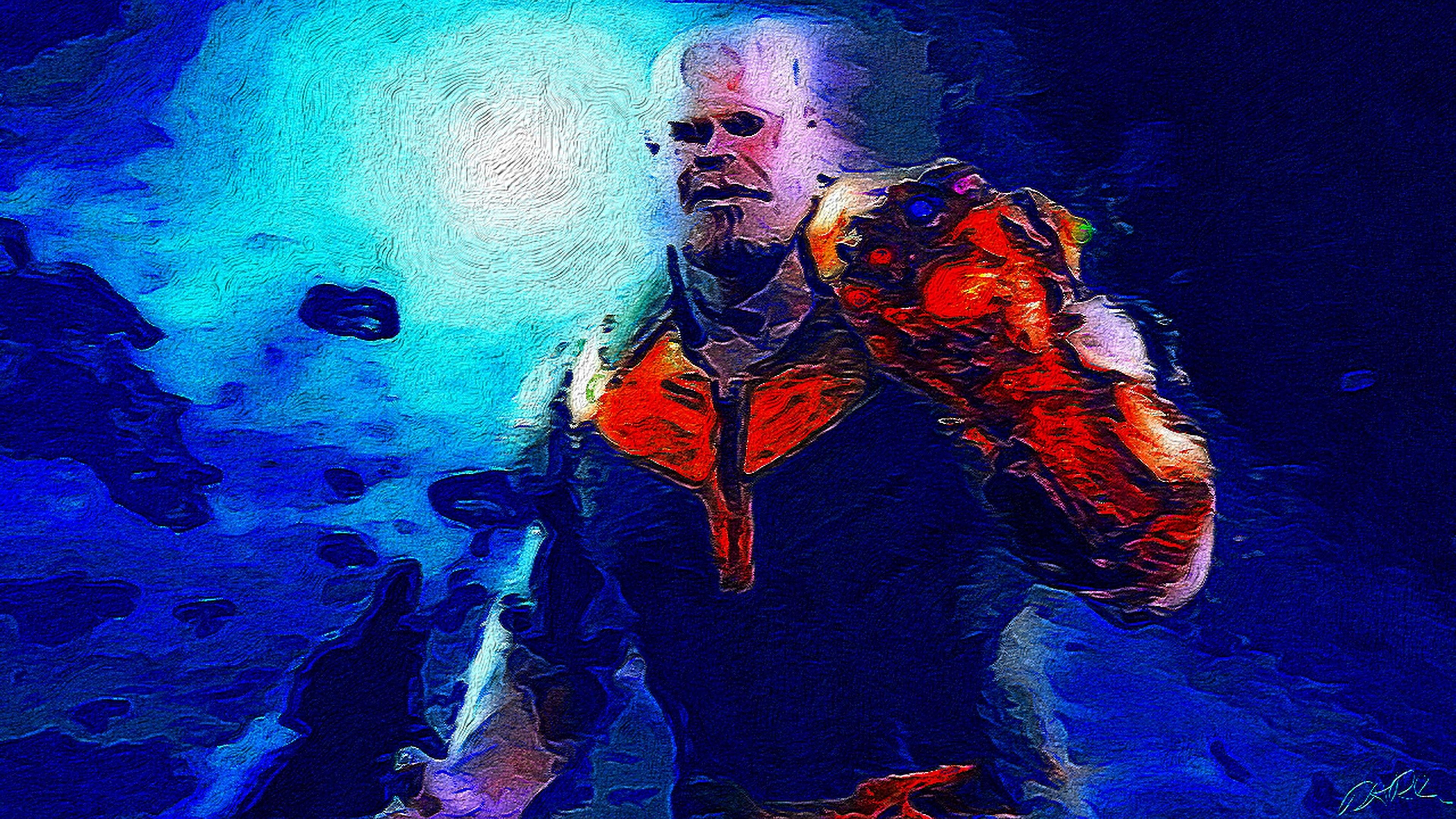 thanos oil painting 4k 1543620285 - Thanos Oil Painting 4k - thanos-wallpapers, supervillain wallpapers, superheroes wallpapers, marvel wallpapers, hd-wallpapers, digital art wallpapers, artwork wallpapers, 4k-wallpapers