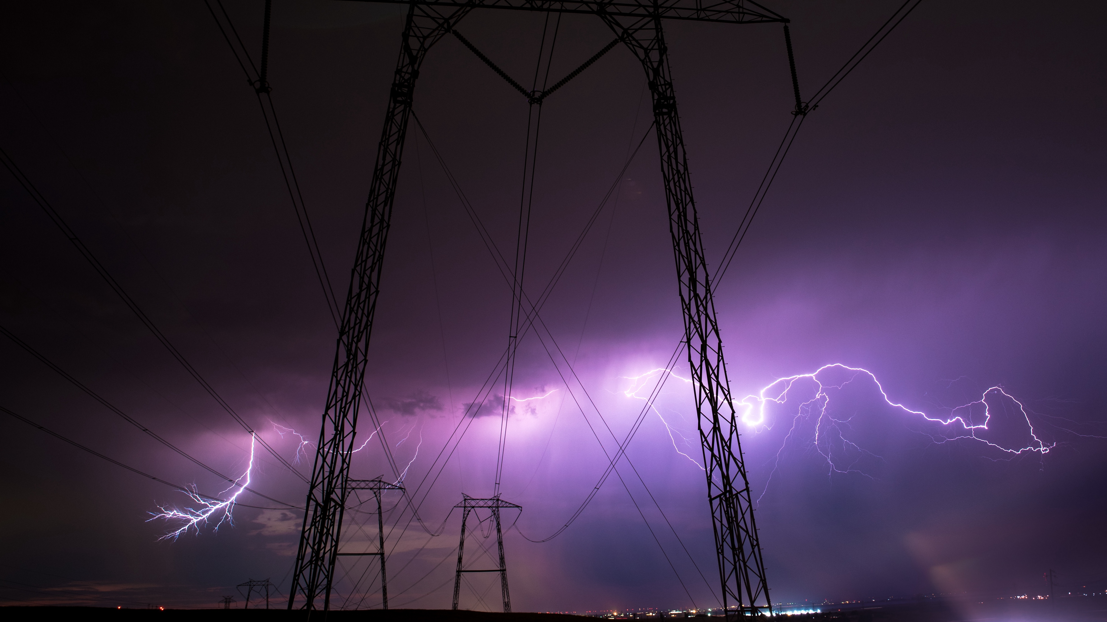 thunderstorm wires night cloudy sky 4k 1541115012 - thunderstorm, wires, night, cloudy, sky 4k - wires, thunderstorm, Night