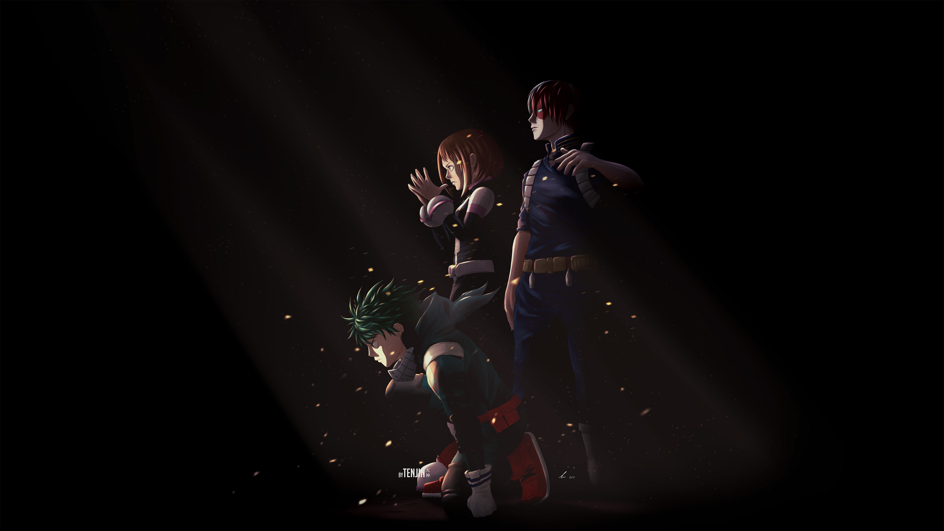 Wallpaper 4k Uraraka Deku Shouto Todoroki My Hero Academia