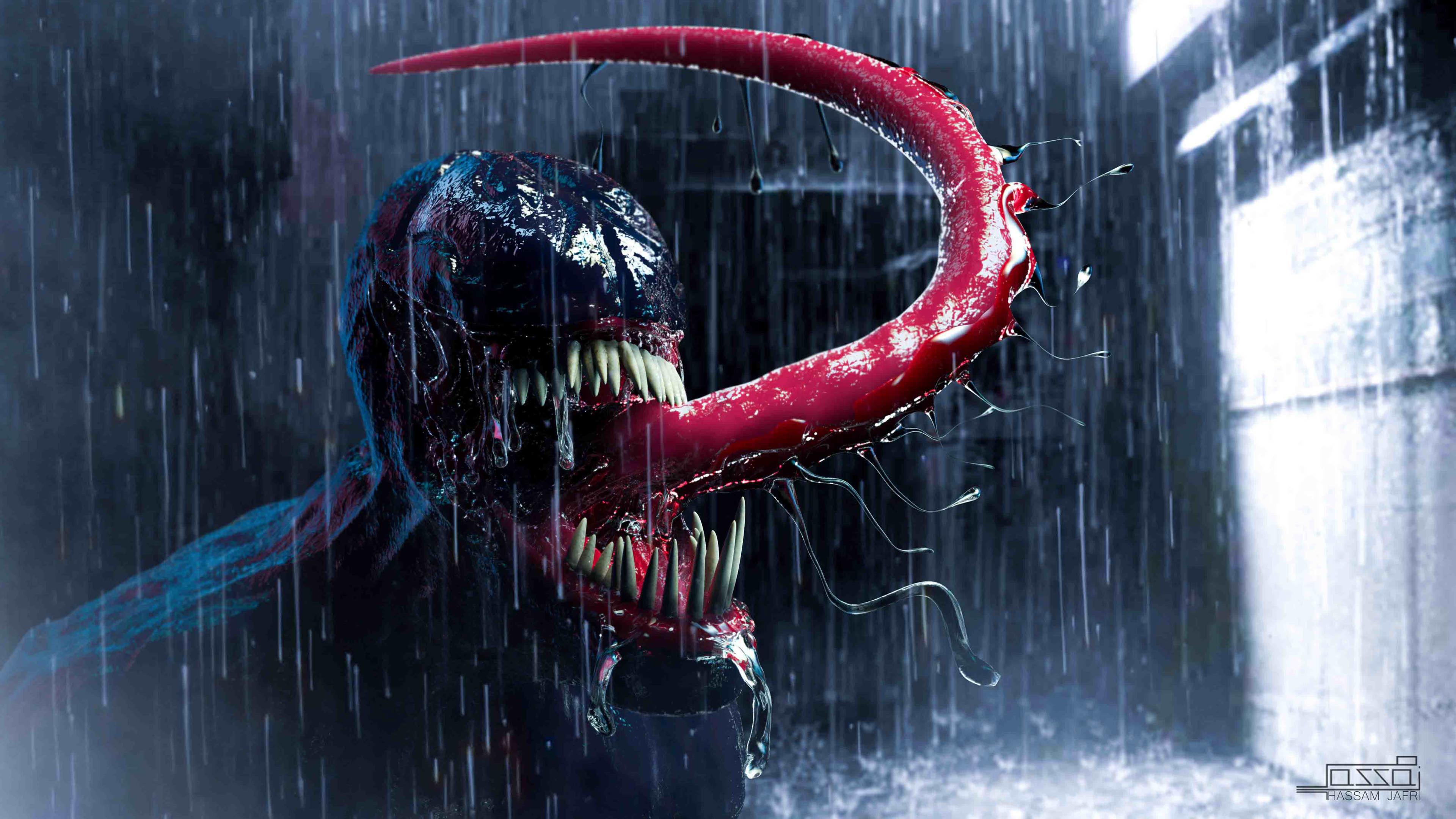 venom in the rain 1543620291 - Venom In The Rain - Venom wallpapers, superheroes wallpapers, hd-wallpapers, digital art wallpapers, behance wallpapers, artwork wallpapers, 4k-wallpapers