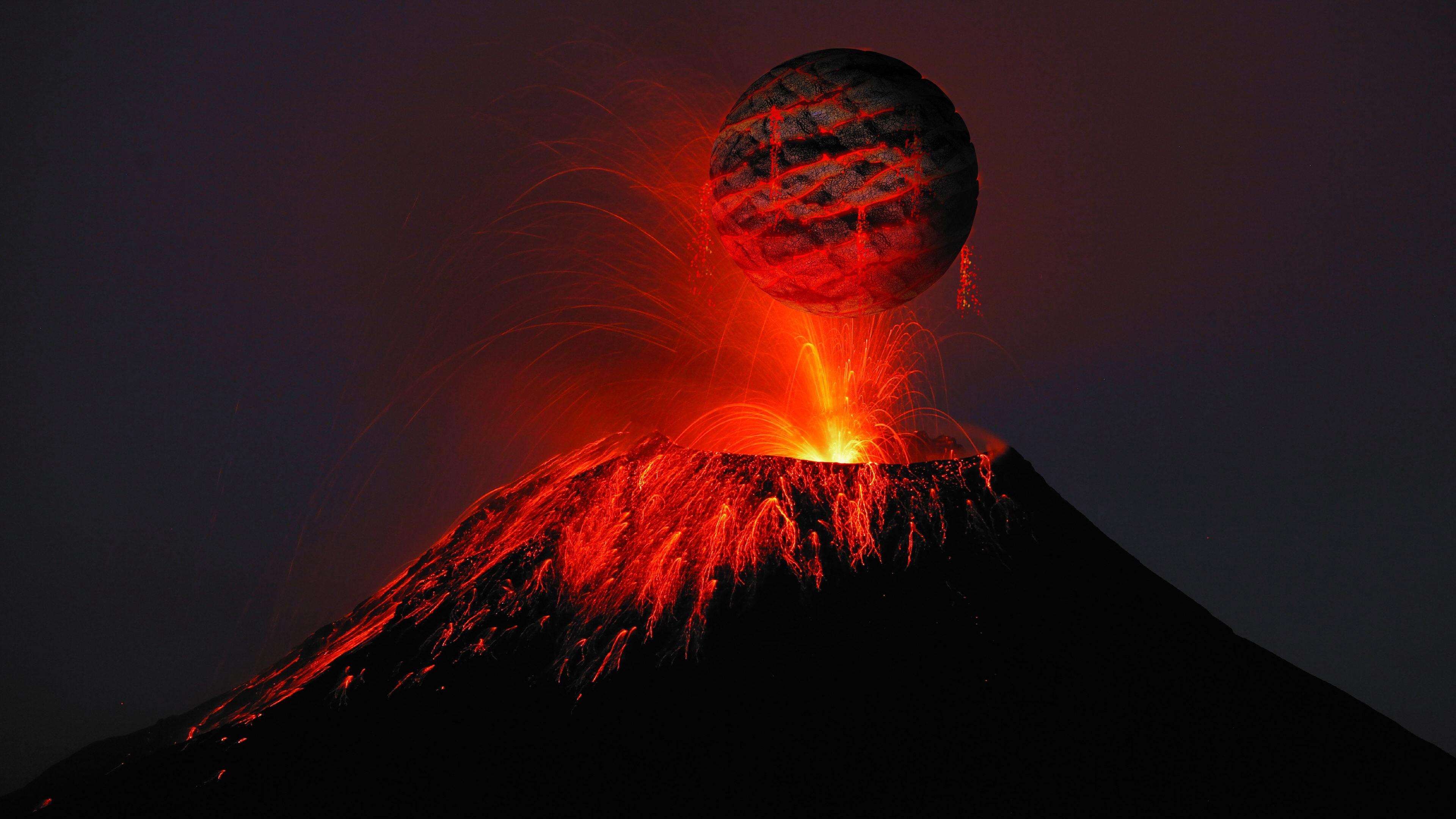 volcano lava sparks cracks balloon 4k 1541116060 - volcano, lava, sparks, cracks, balloon 4k - volcano, Sparks, Lava