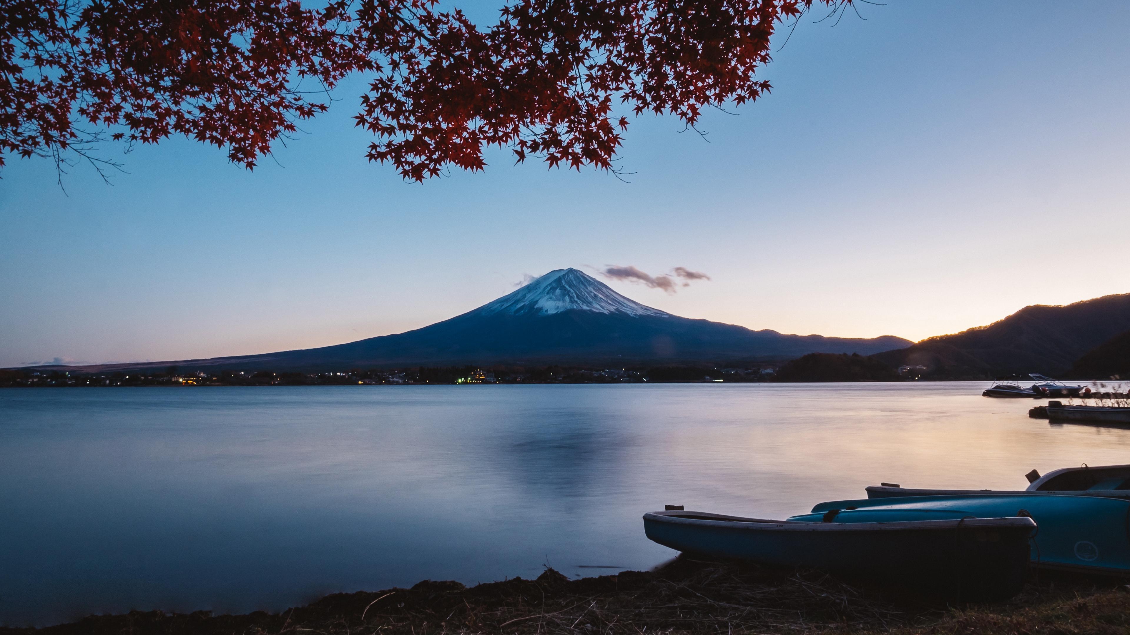 volcano mountain lake tree autumn 4k 1541117316 - volcano, mountain, lake, tree, autumn 4k - volcano, Mountain, Lake