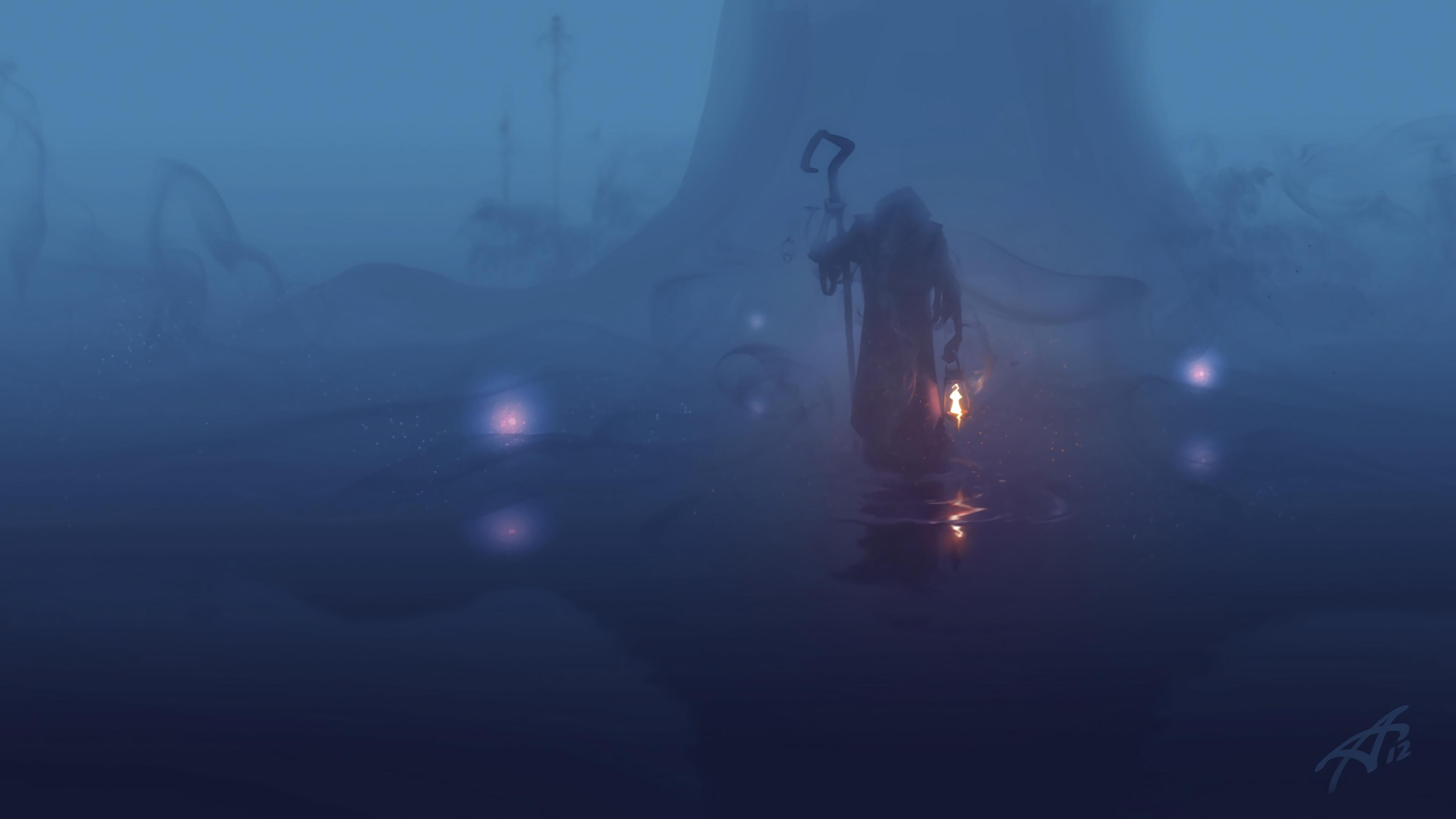 wanderer fog mantle dark gloomy lamp 4k 1541971215 - wanderer, fog, mantle, dark, gloomy, lamp 4k - wanderer, mantle, fog