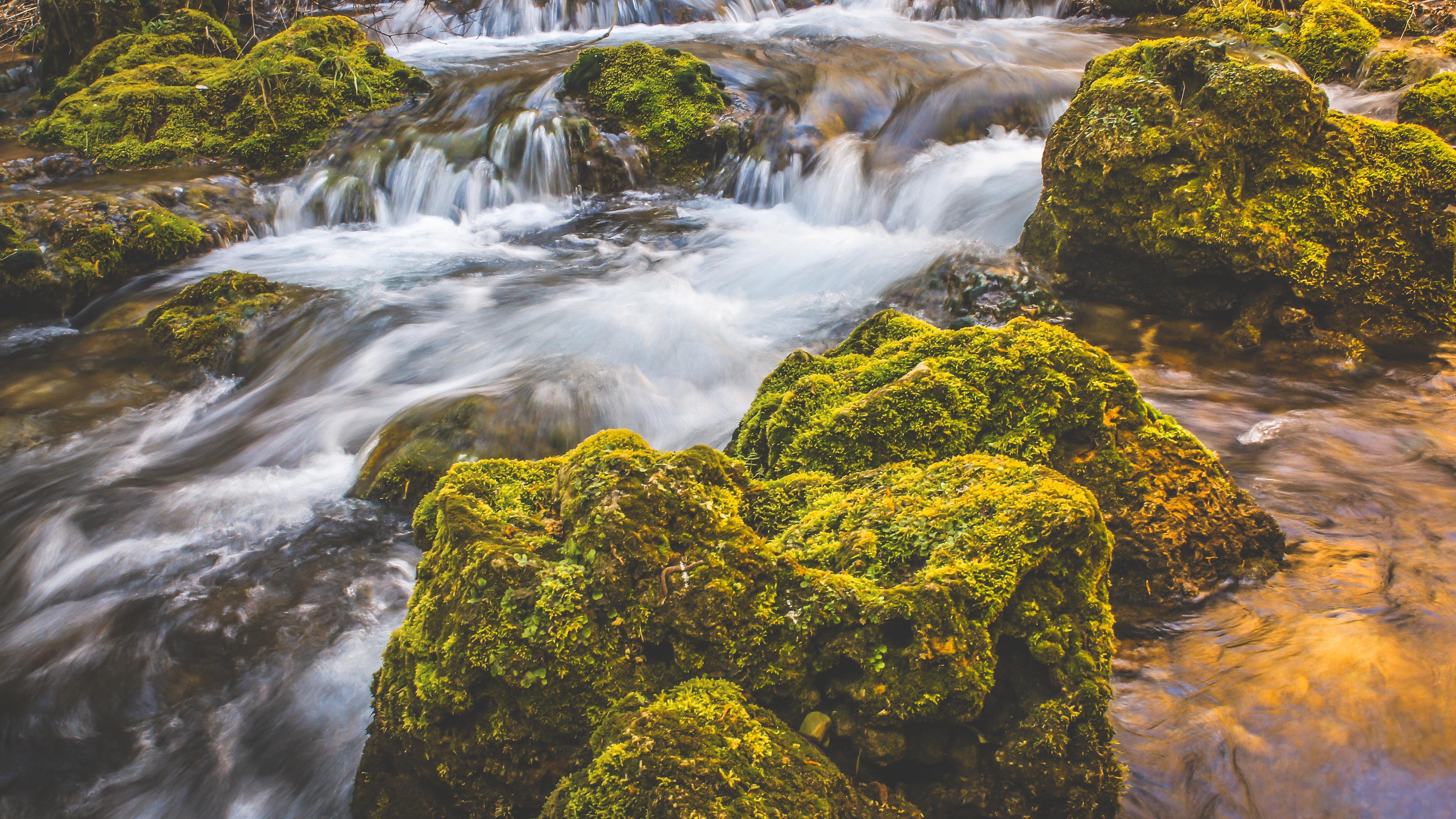 waterfall moss stones flow 4k 1541116573 - waterfall, moss, stones, flow 4k - Waterfall, Stones, moss