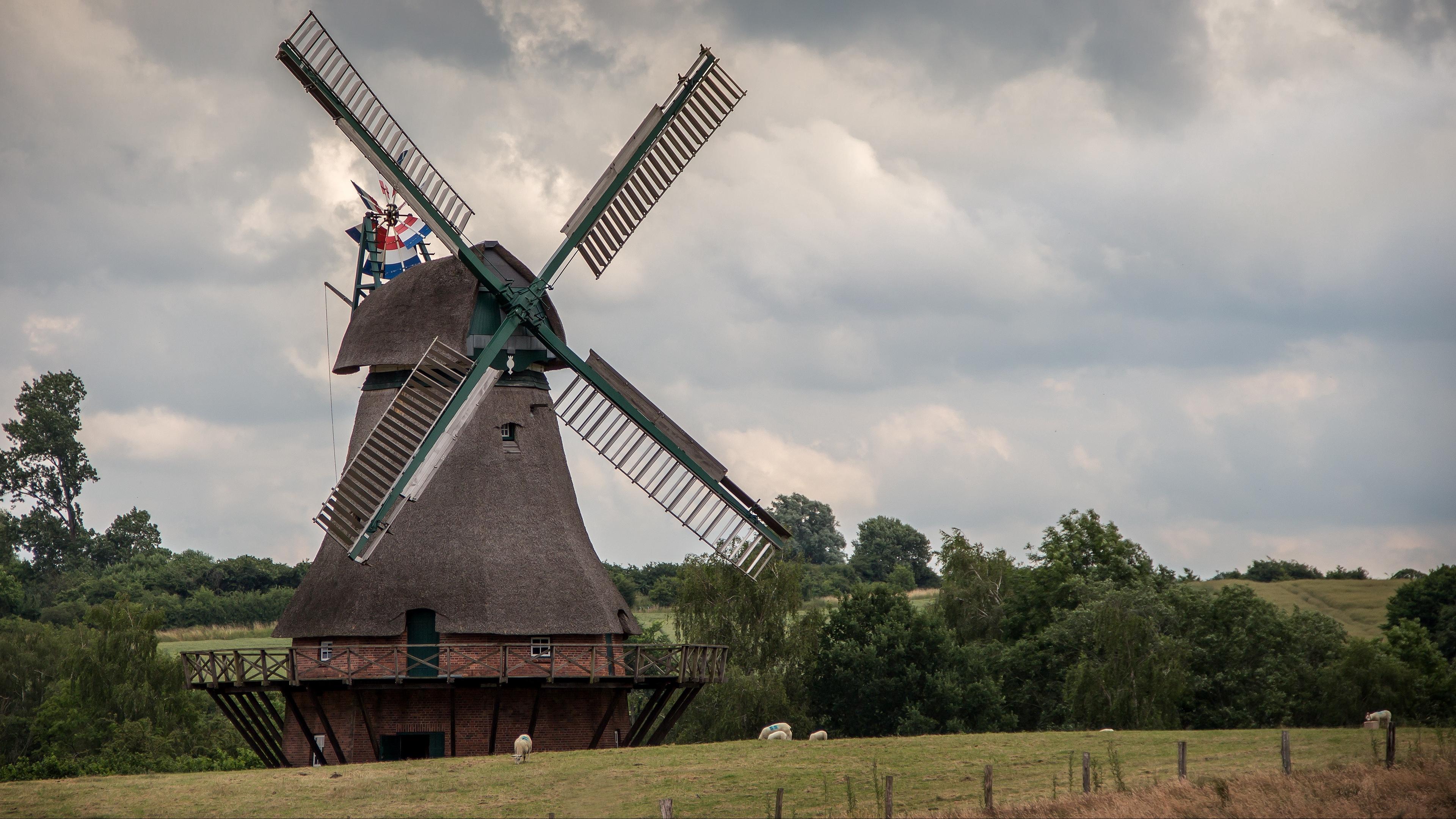 windmill agriculture sky 4k 1541116267 - windmill, agriculture, sky 4k - windmill, Sky, Agriculture