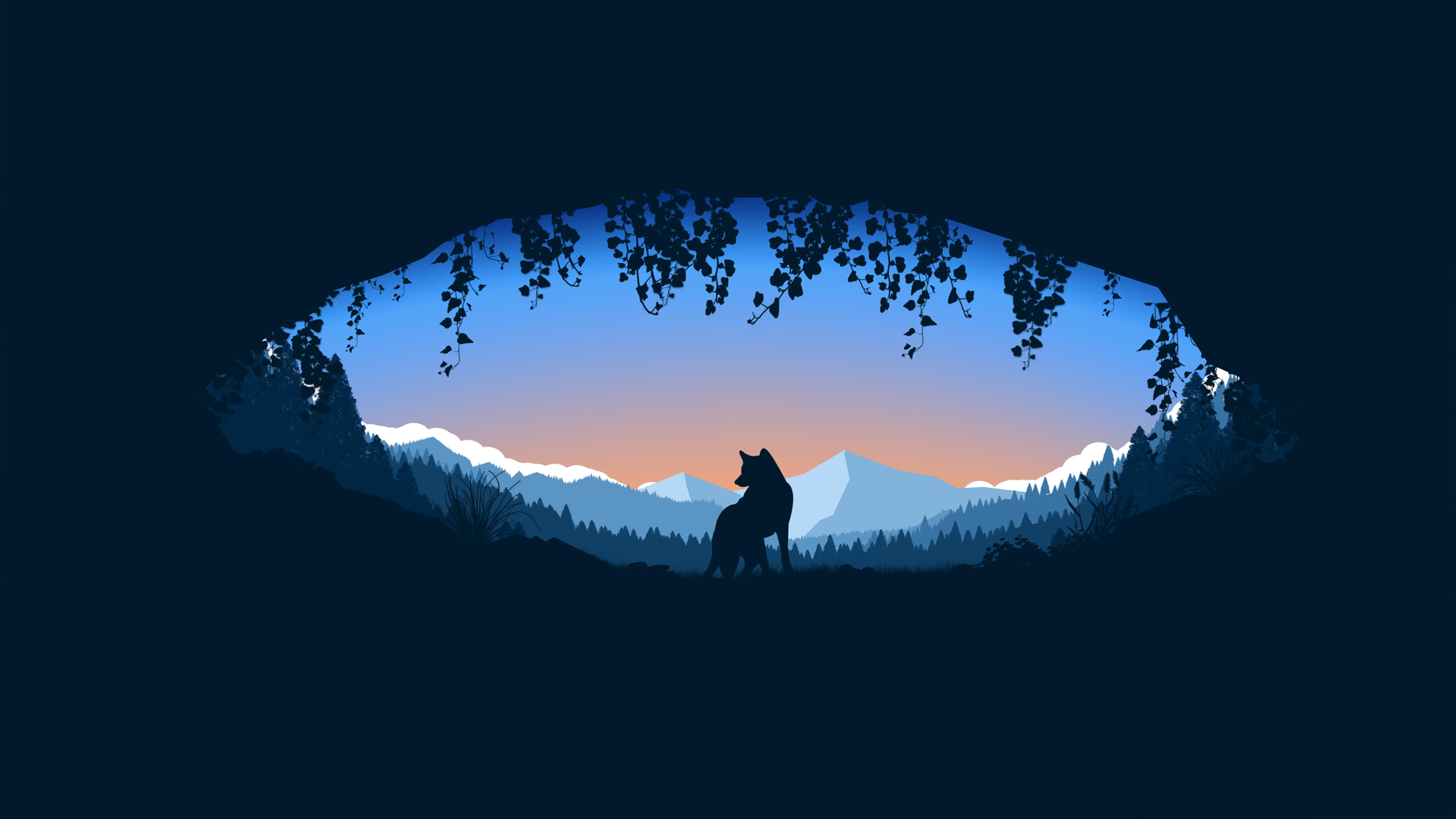 Wolf Cave Minimalist 4k wolf wallpapers, minimalist ...