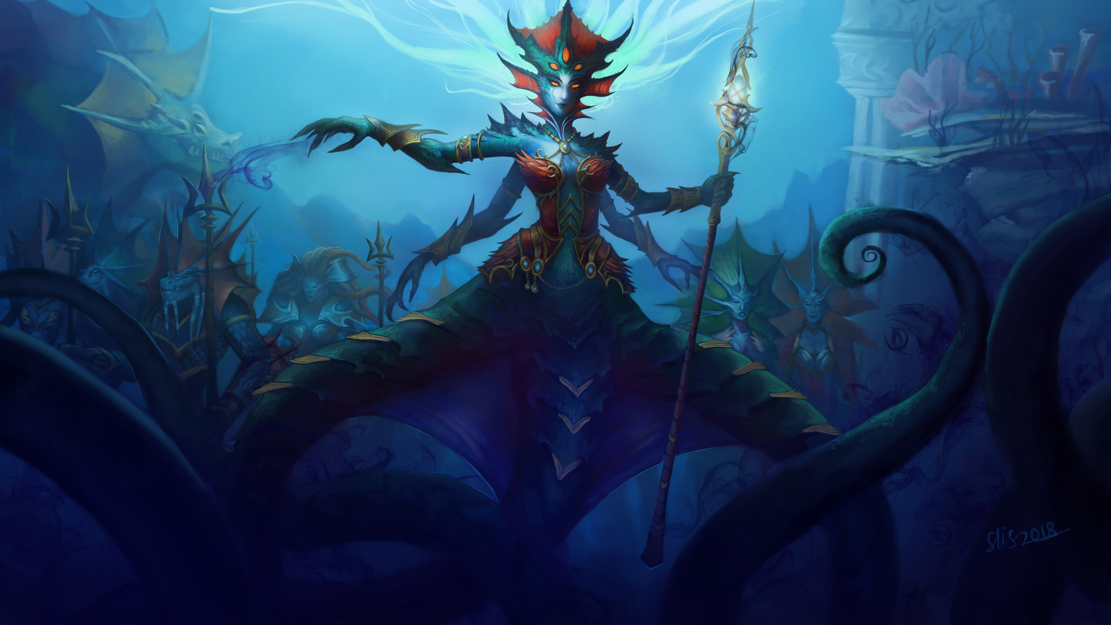Wallpaper 4k World Of Warcraft Queen Azshara 4k 4k Wallpapers 5k