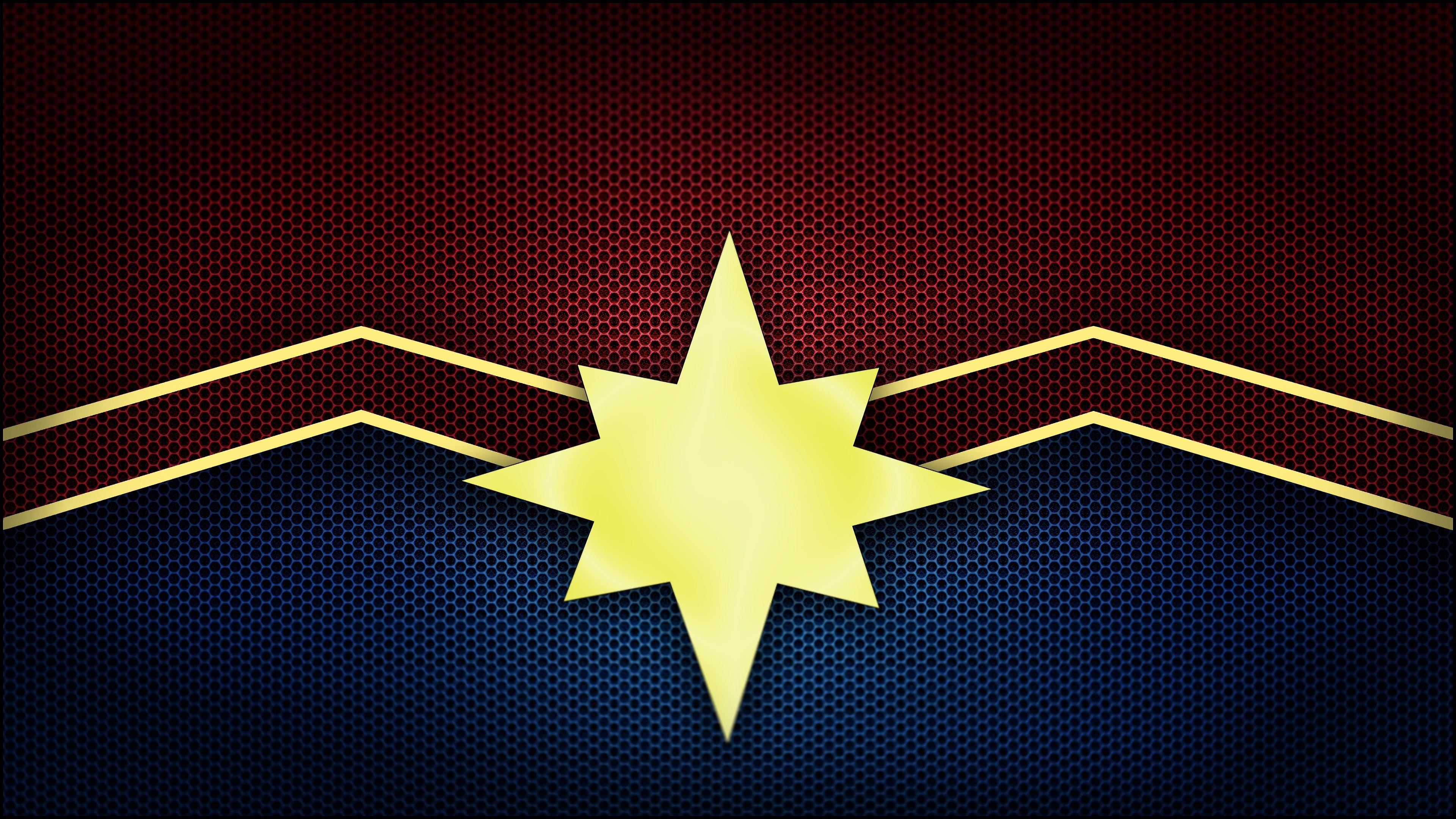 captain marvel movie 2019 logo 4k wallpaper 1544829333 - Captain Marvel Movie 2019 Logo 4K Wallpaper - Captain Marvel (Movie 2019), Captain Marvel (Carol Danvers)