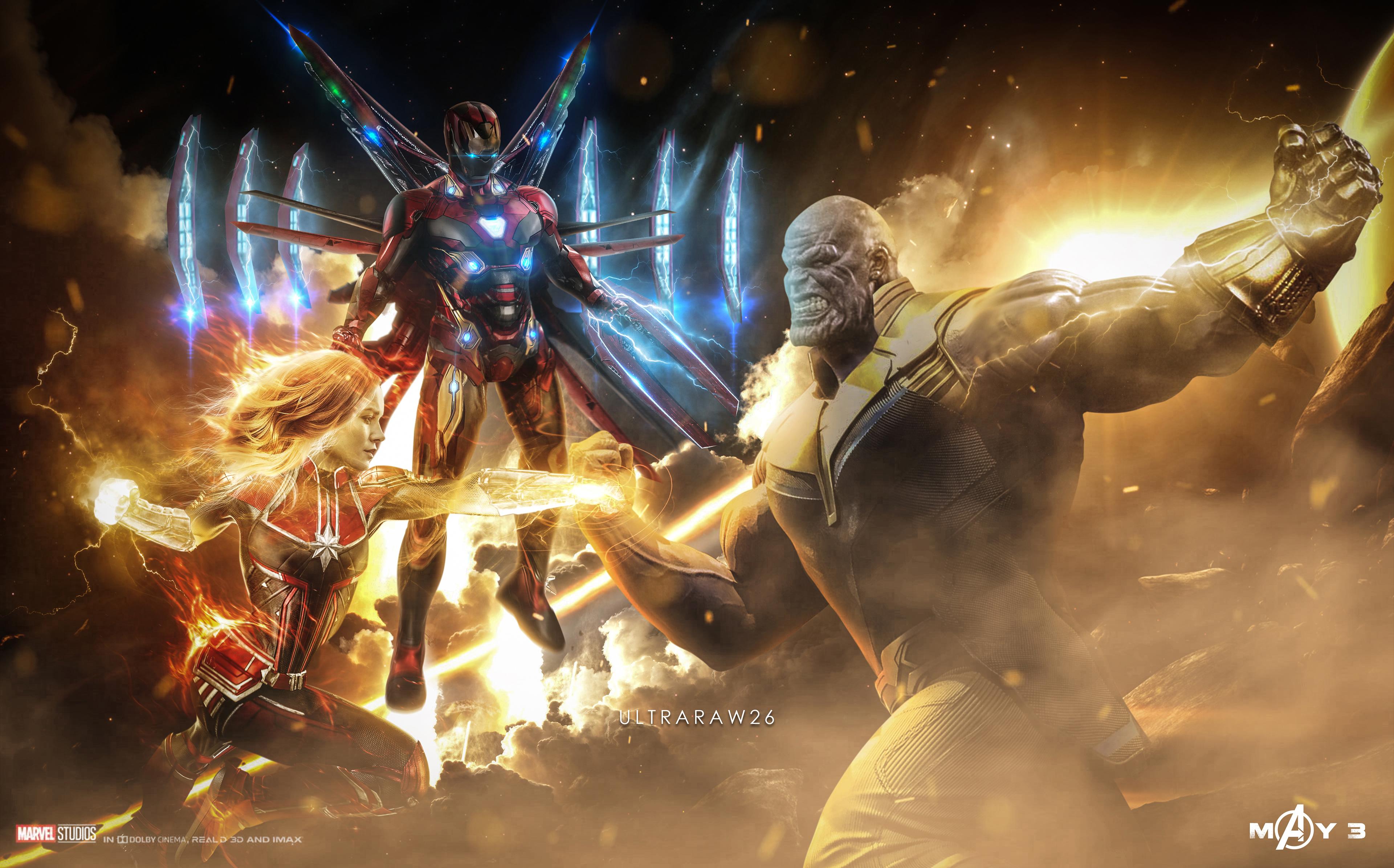 Wallpaper 4k Captain Marvel Thanos Iron Man Artwork Artwork