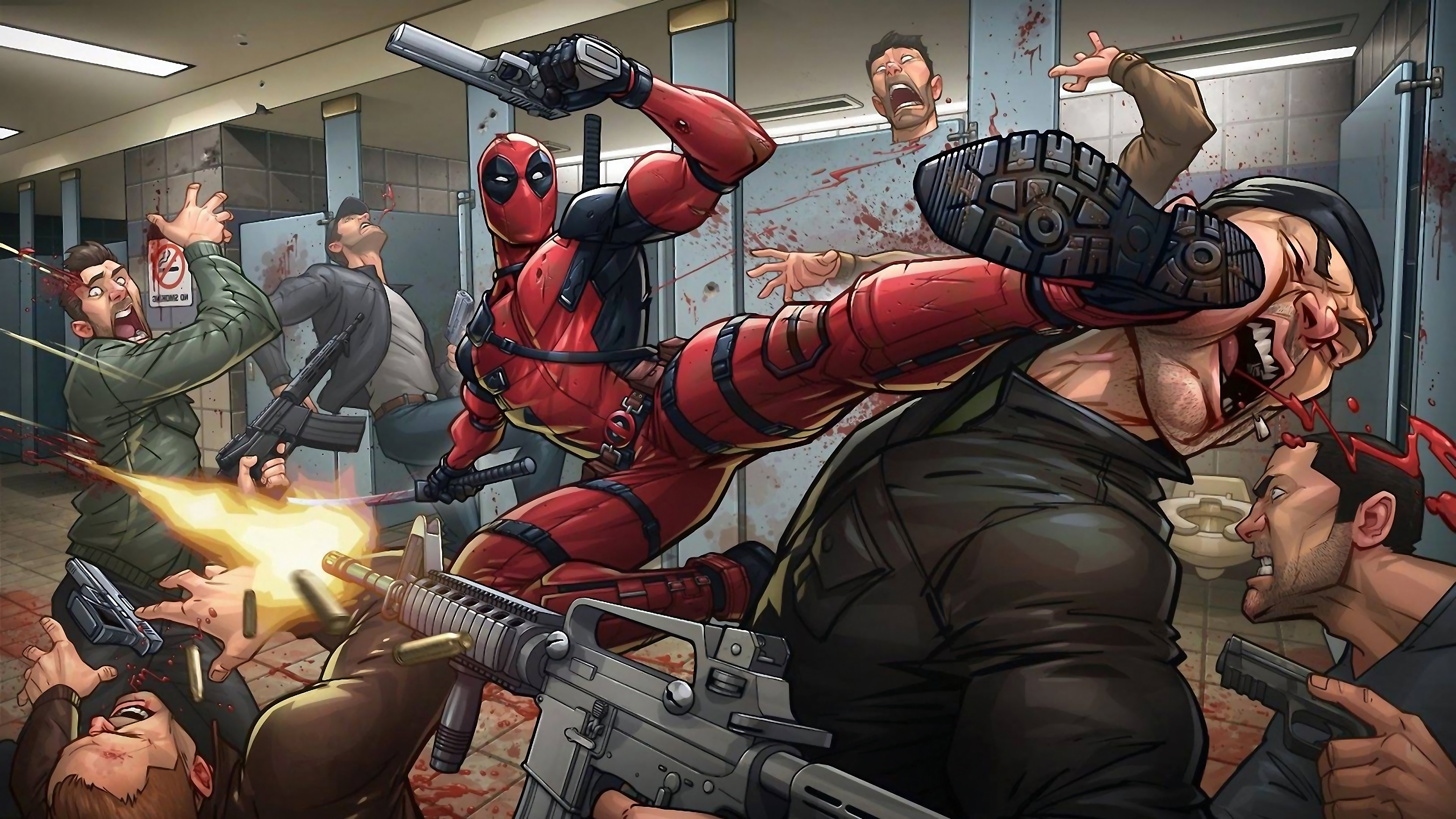 Wallpaper 4k Deadpool Fighting Marvel Comics 4k Wallpaper