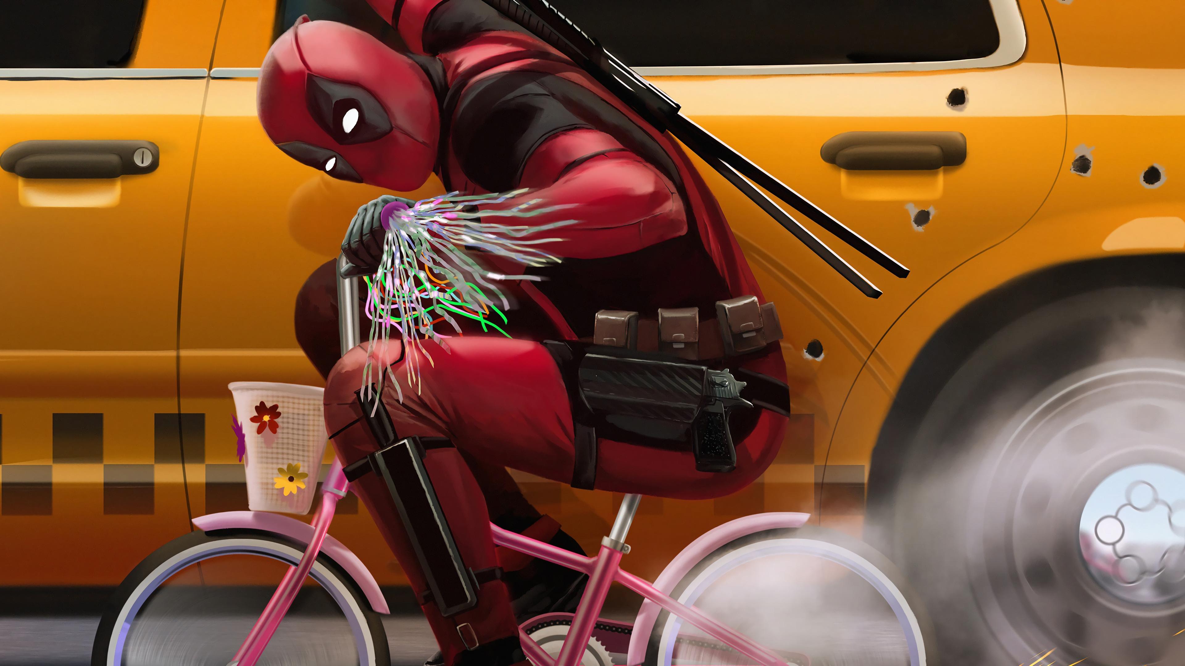 2048x2048 Deadpool 2 Movie Poster 4k Ipad Air Hd 4k: Deadpool Riding Bike Deadpool 2 Movie 4K Wallpaper
