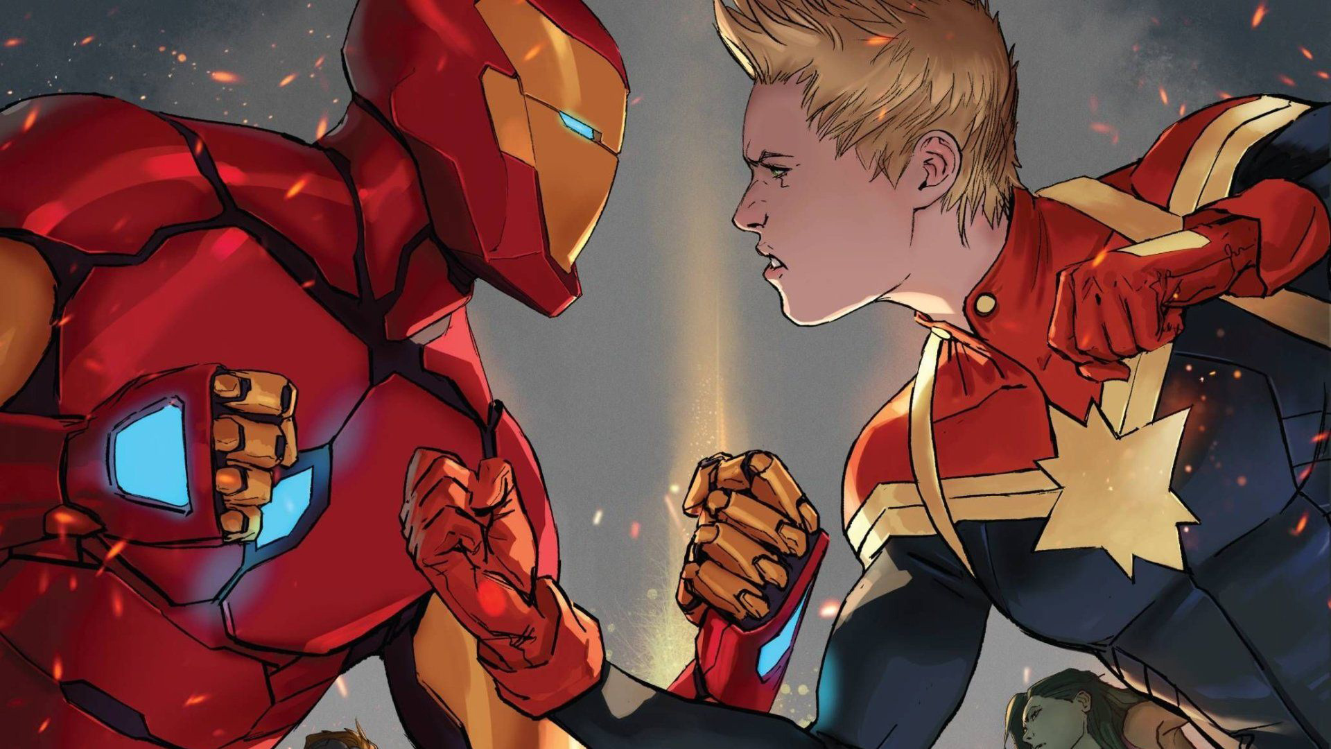 iron man and captain marvel 1544829588 - Iron Man And Captain Marvel - superheroes wallpapers, iron man wallpapers, hd-wallpapers, digital art wallpapers, captain marvel wallpapers, artwork wallpapers