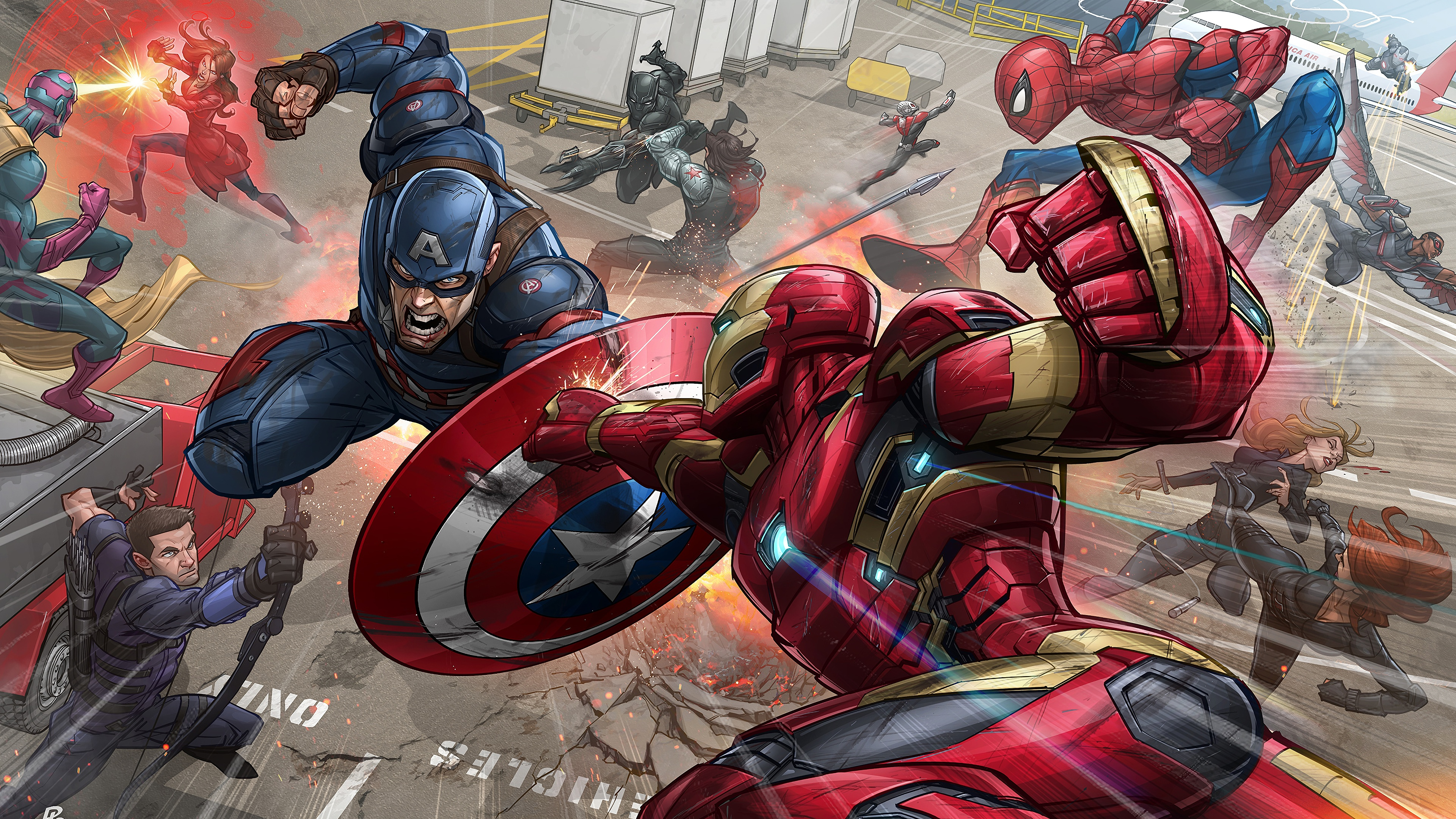 Wallpaper 4k Iron Man Captain America Fight Marvel Comics 4k