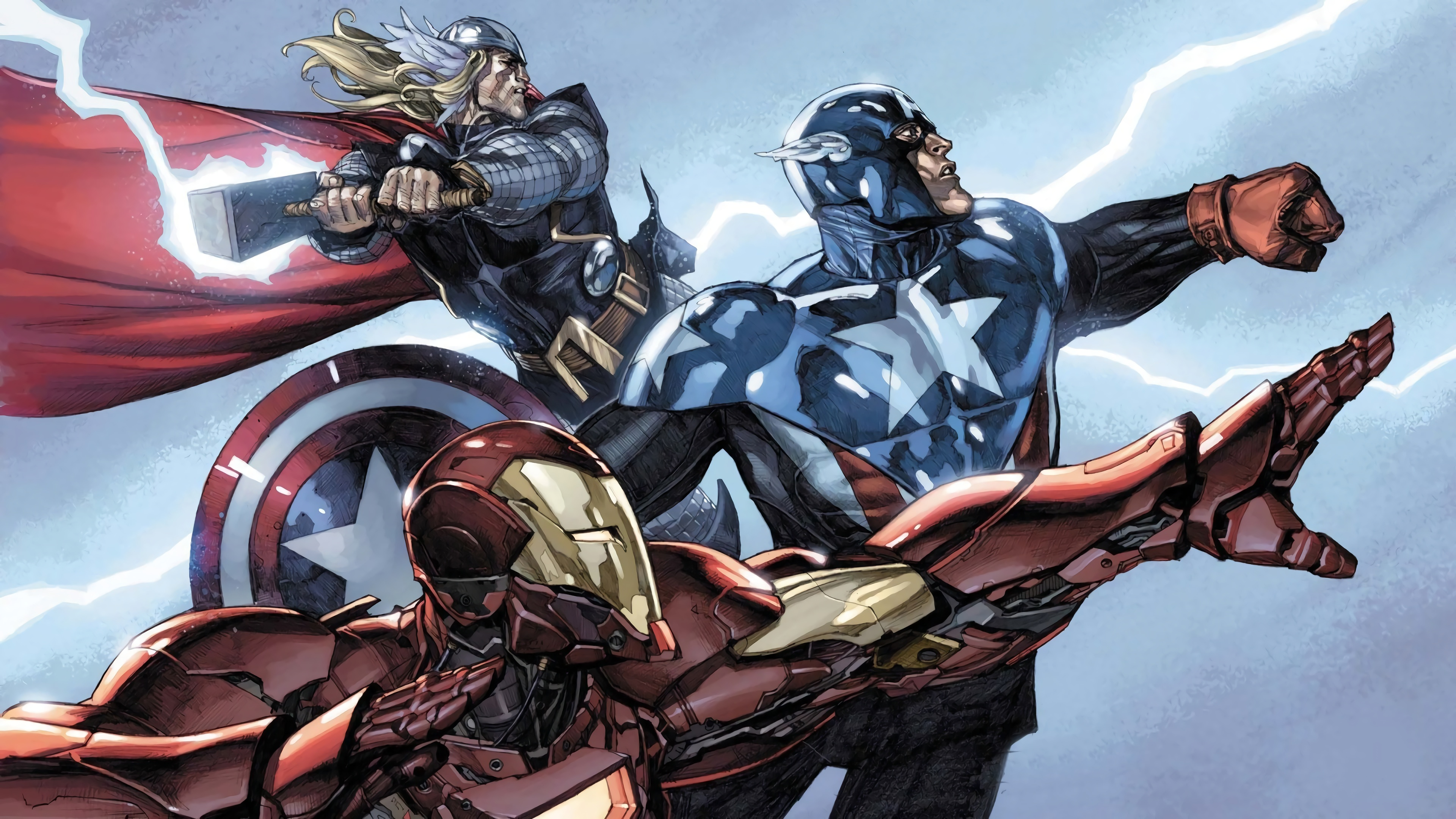 iron man captain america thor marvel comics 4k wallpaper 1544829426 - Iron Man Captain America Thor Marvel Comics 4K Wallpaper - Thor, Marvel Comics, Iron Man, Comics, captain america
