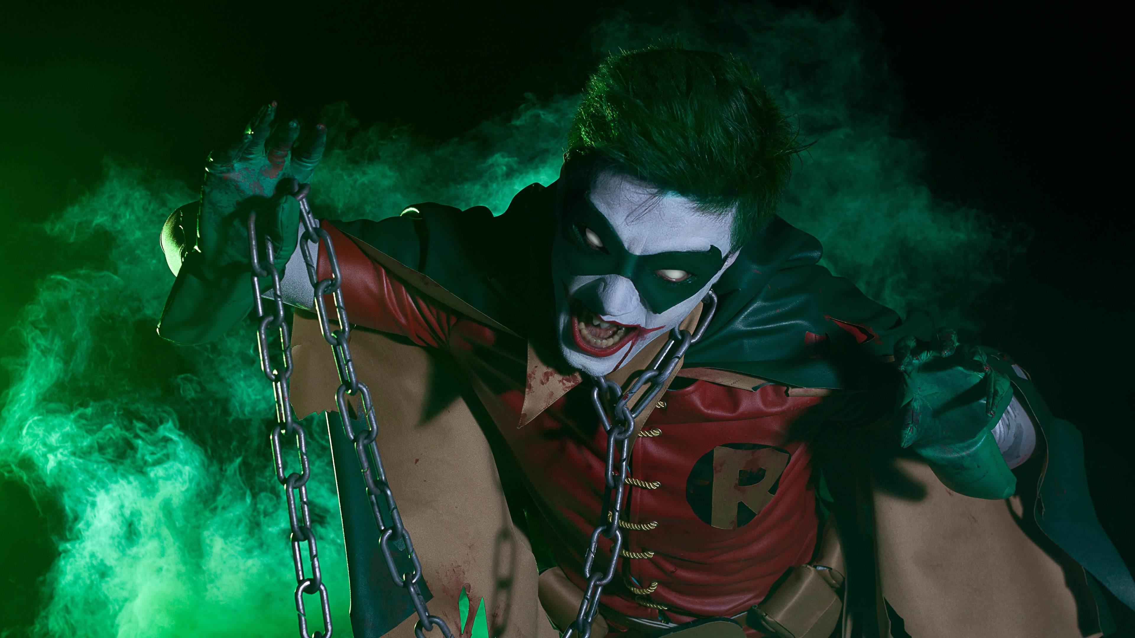 robin as joker cosplay 4k 1544286640 - Robin As Joker Cosplay 4k - superheroes wallpapers, robin wallpapers, hd-wallpapers, cosplay wallpapers, 4k-wallpapers