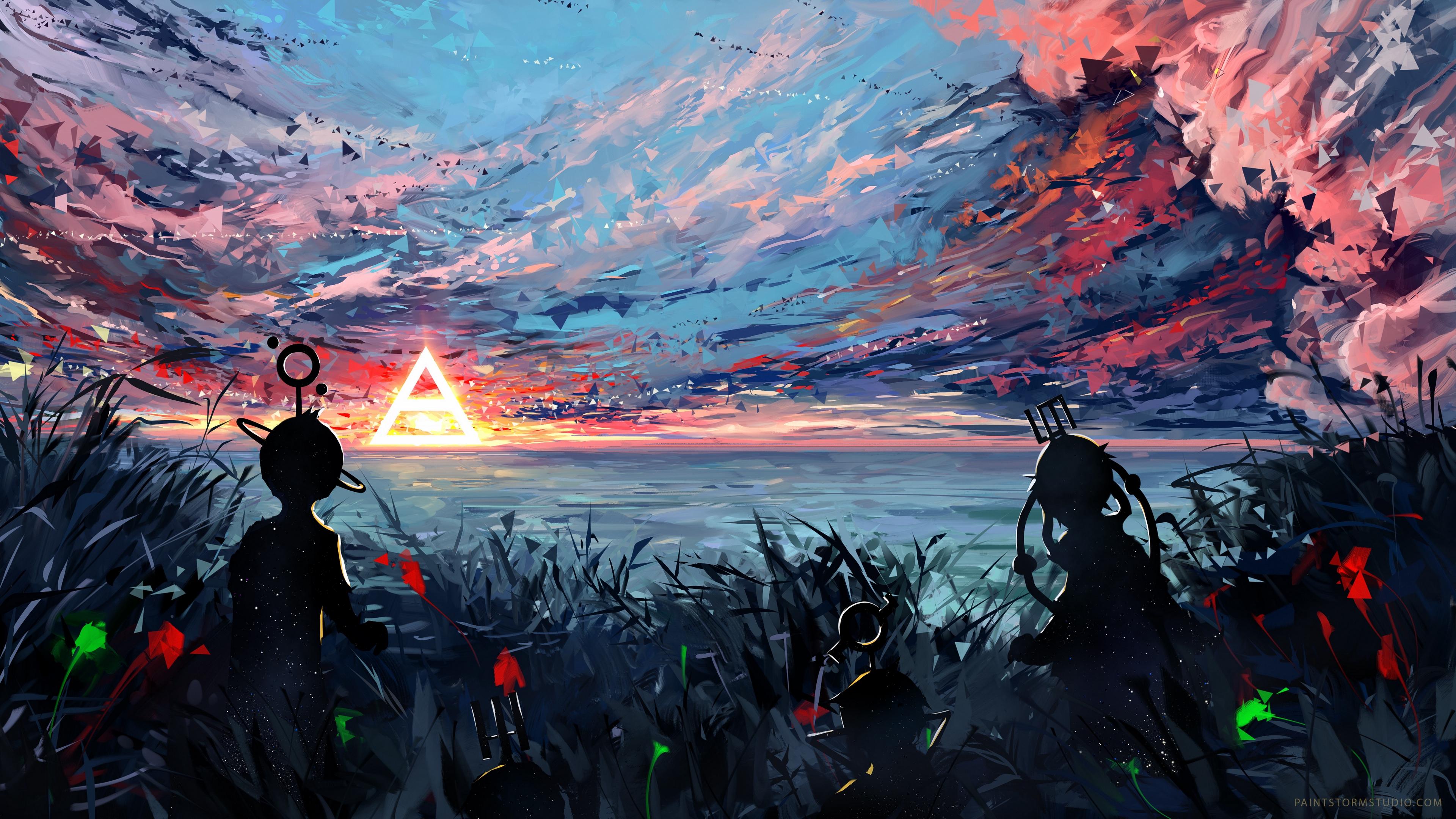 silhouette art sky spots colorful 4k 1543945731 - silhouette, art, sky, spots, colorful 4k - Sky, Silhouette, art