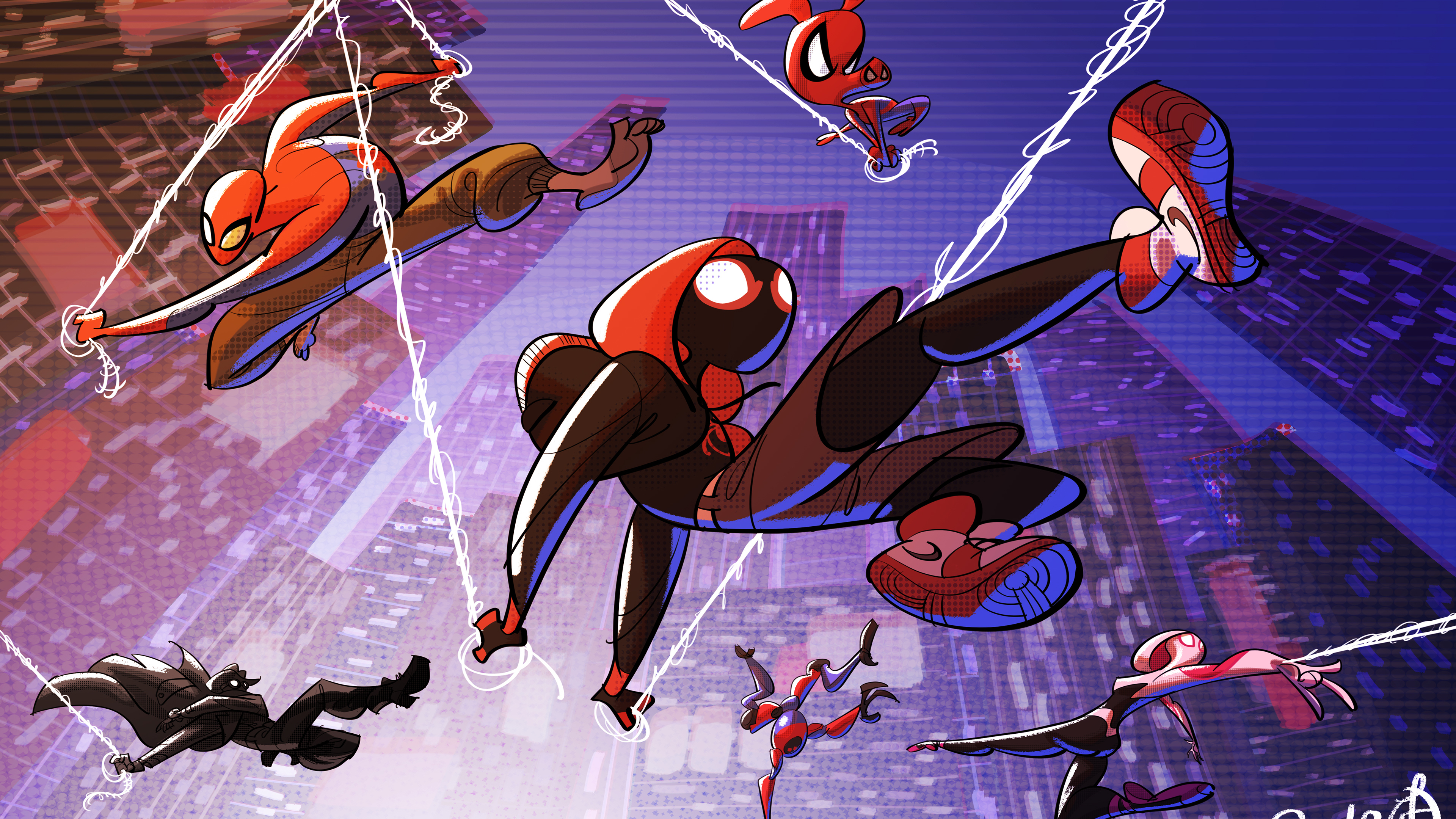 Wallpaper 4k Spider Verse Cartoon Art 4k 4k Wallpapers Artist