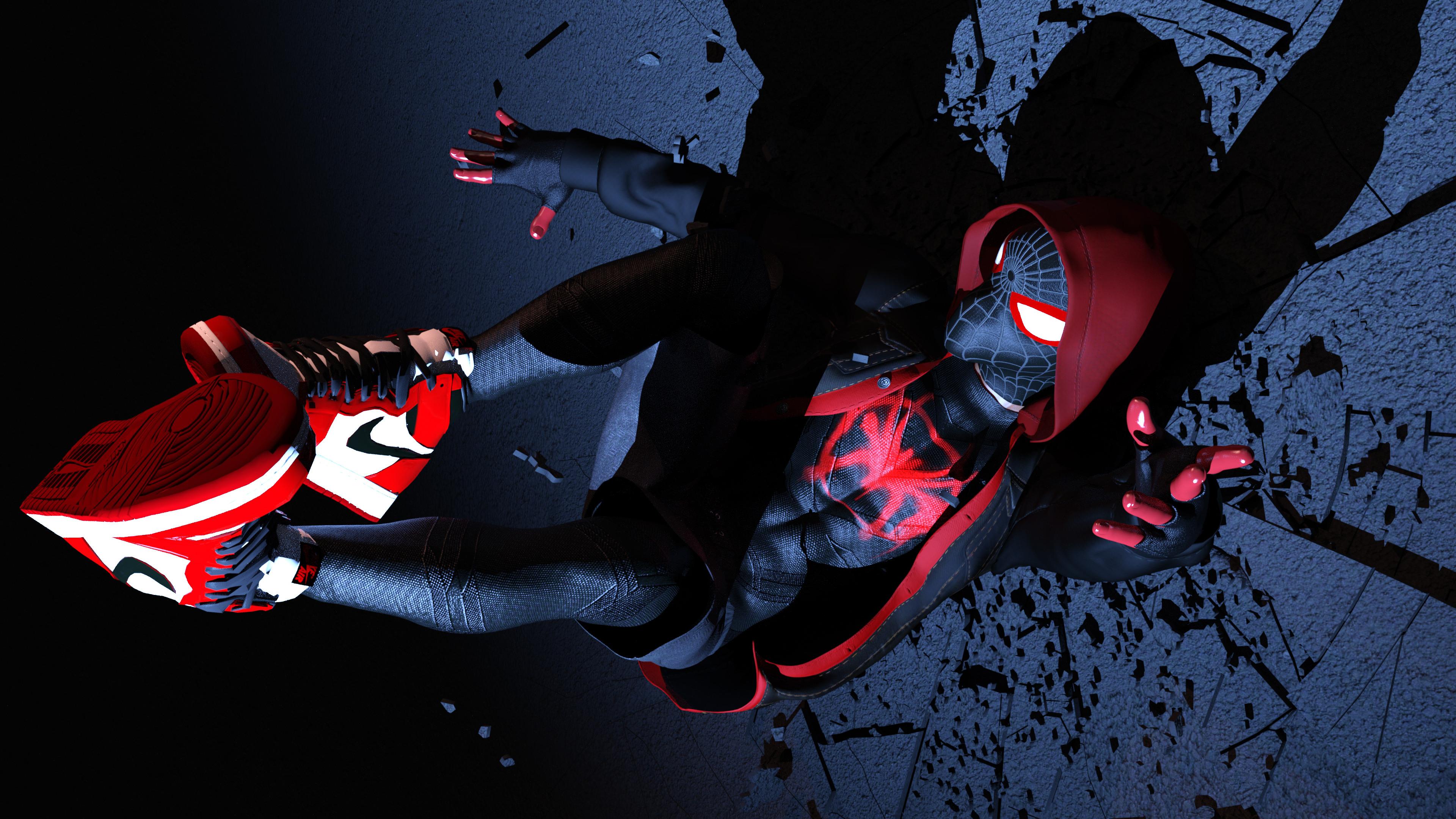 Wallpaper Spider Man 2099 Fan Art 4k Creative Graphics: Spiderman Miles Morales 4k Superheroes Wallpapers